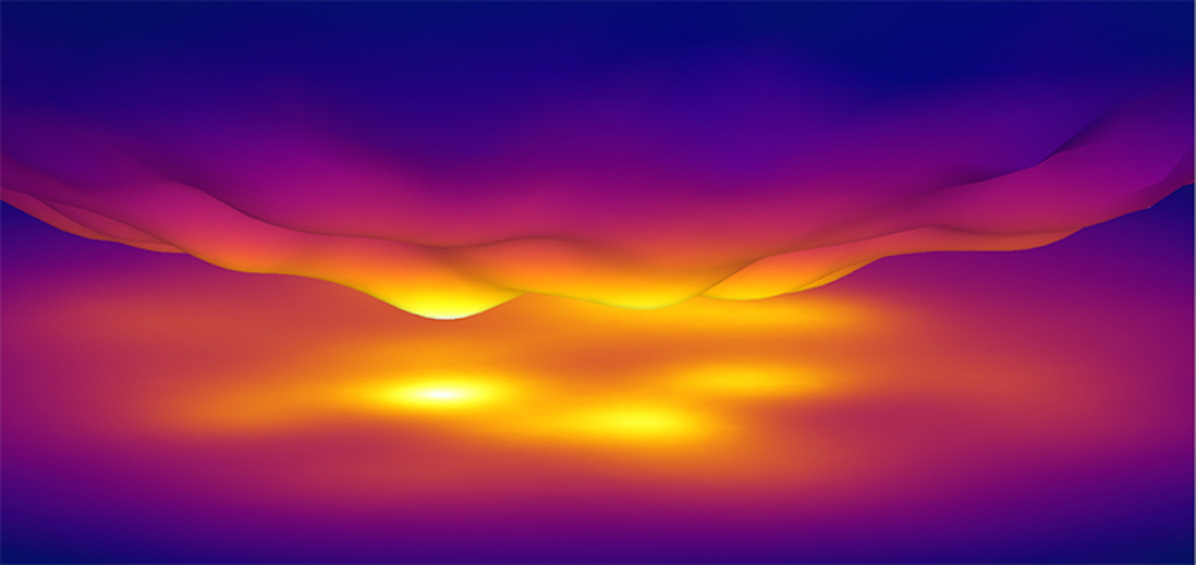 A close-up view of heat radiating from one surface to another at the nanoscale.