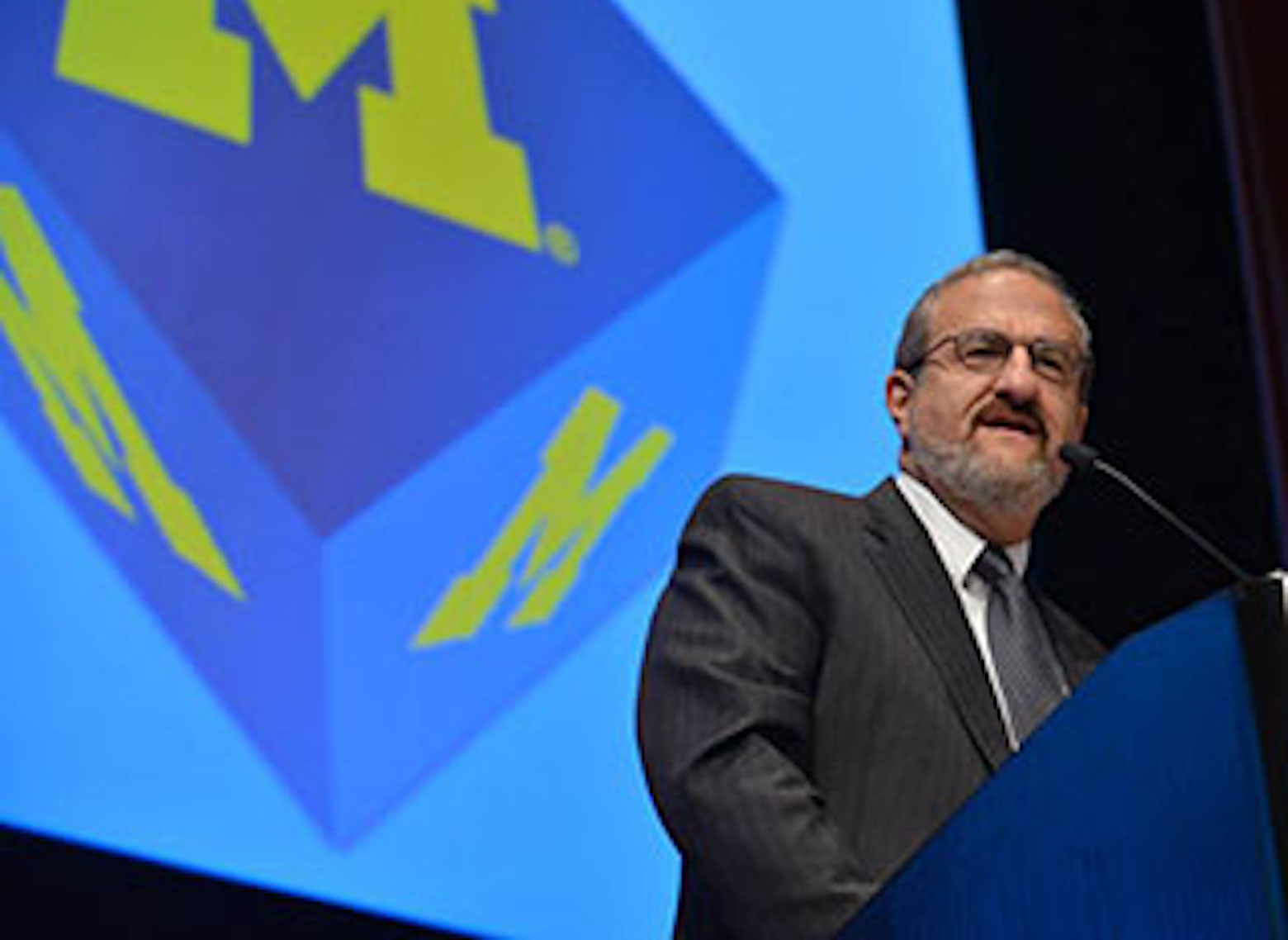 President Mark Schlissel addresses the crowd at the MCubed Symposium.