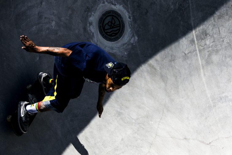 A photograph of a skateboarder at the Ann Arbor Skatepark
