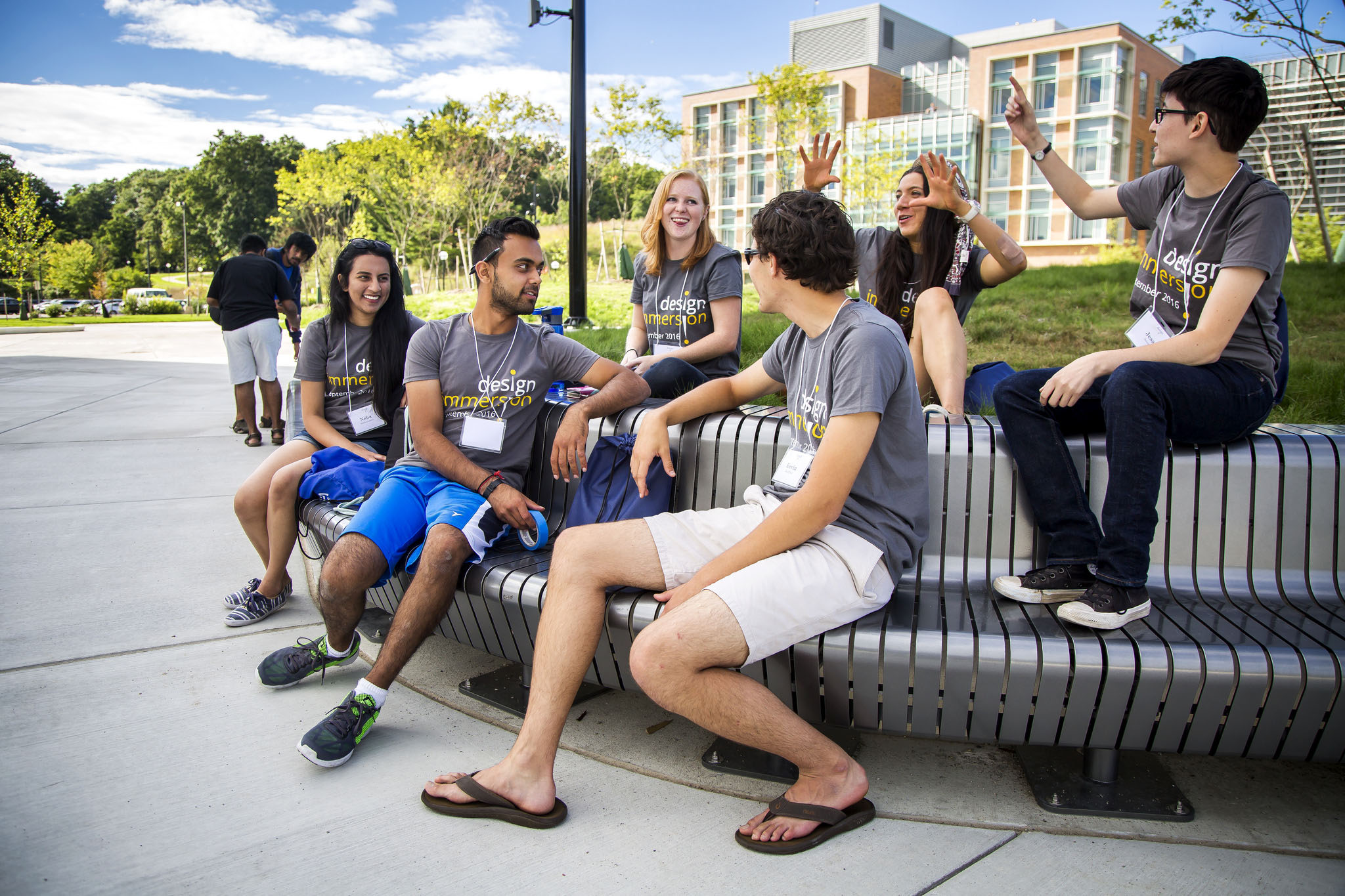 A photograph of students spending time on the Eda U. Gerstacker Grove