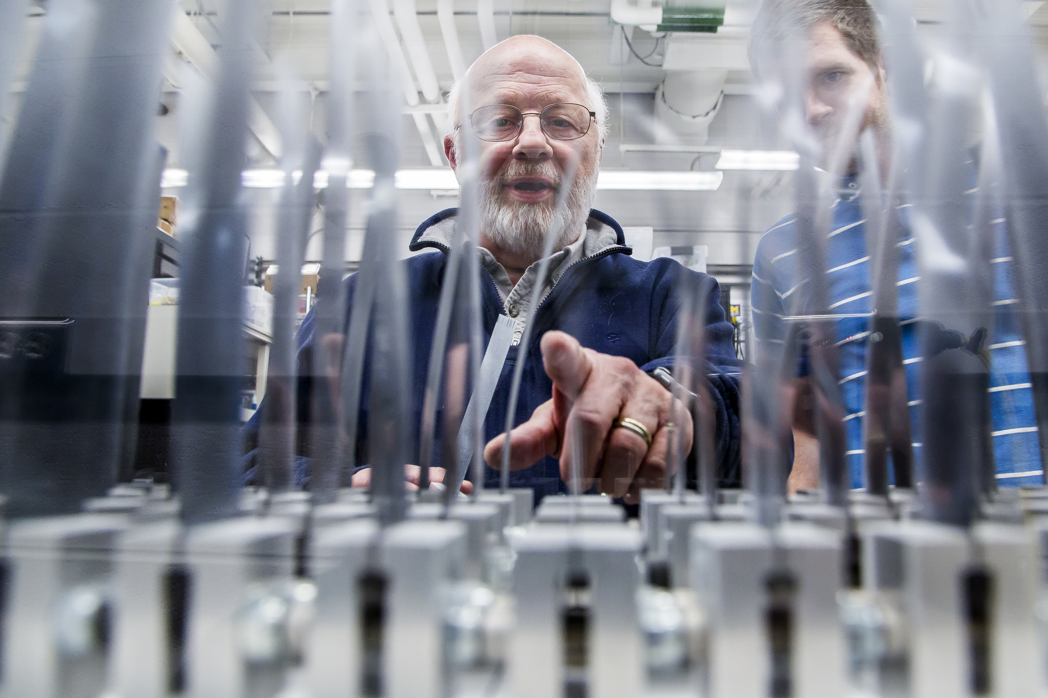 A photograph of researchers watching a wind tunnel full of smart grass made out of smart materials collect energy.