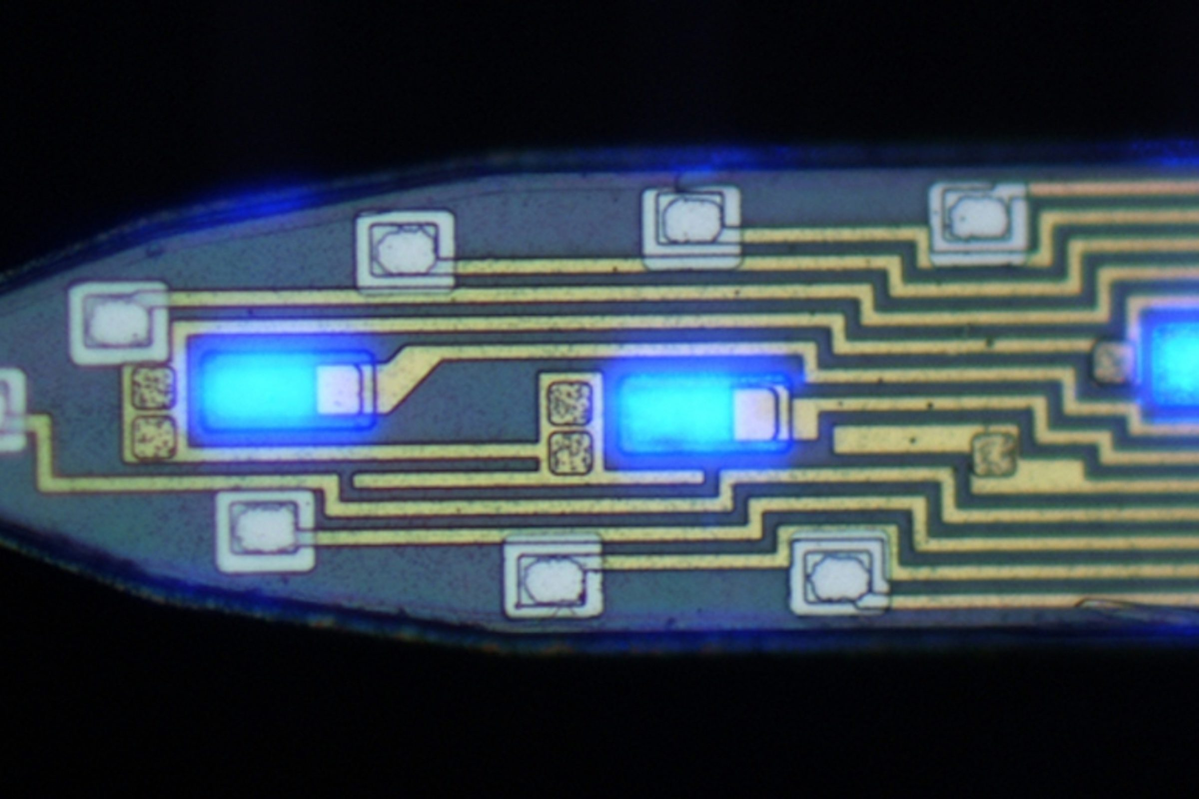 Tine of a probe that has minuscule LED lights and electrodes