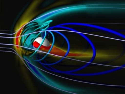 A model of the activity in the magnetosphere of a planet when there is a solar storm. Model: University of Michigan