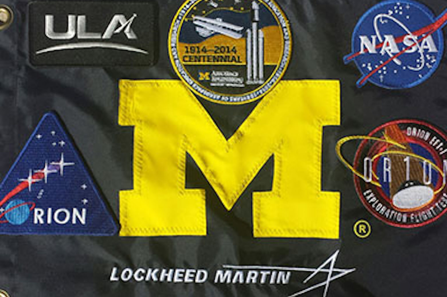 The Michigan flag, customized with patches