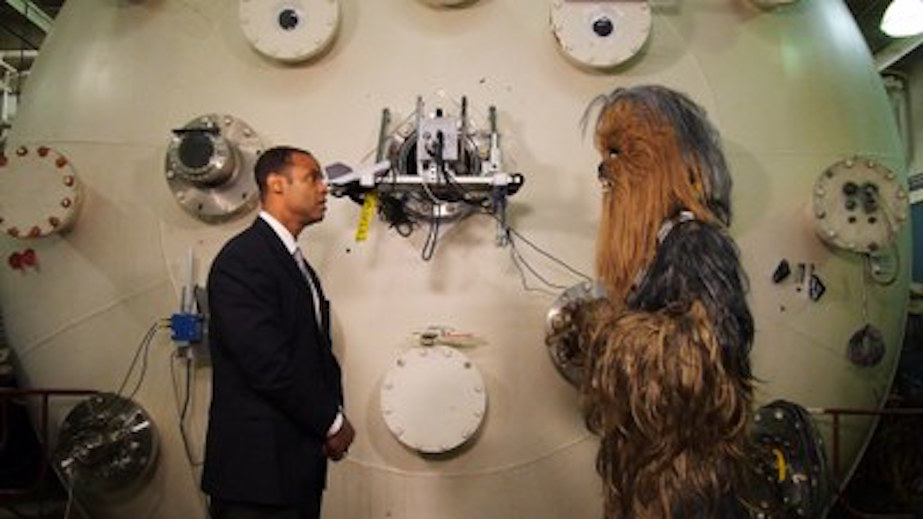 Alec Gallimore and Chewie talking