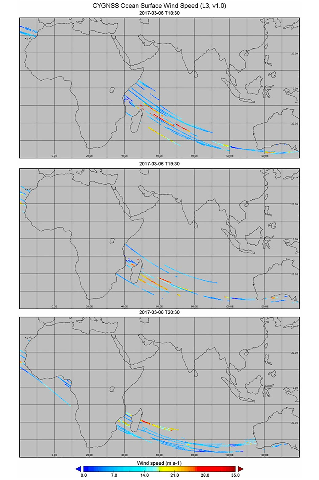 Maps showing data collected by CYGNSS
