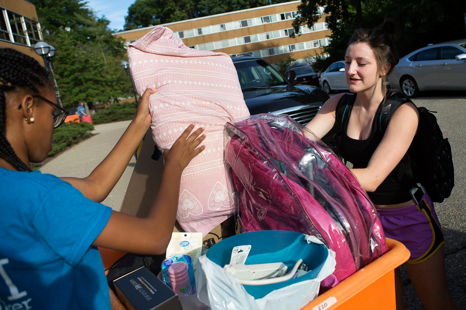 New student unpacks belongings
