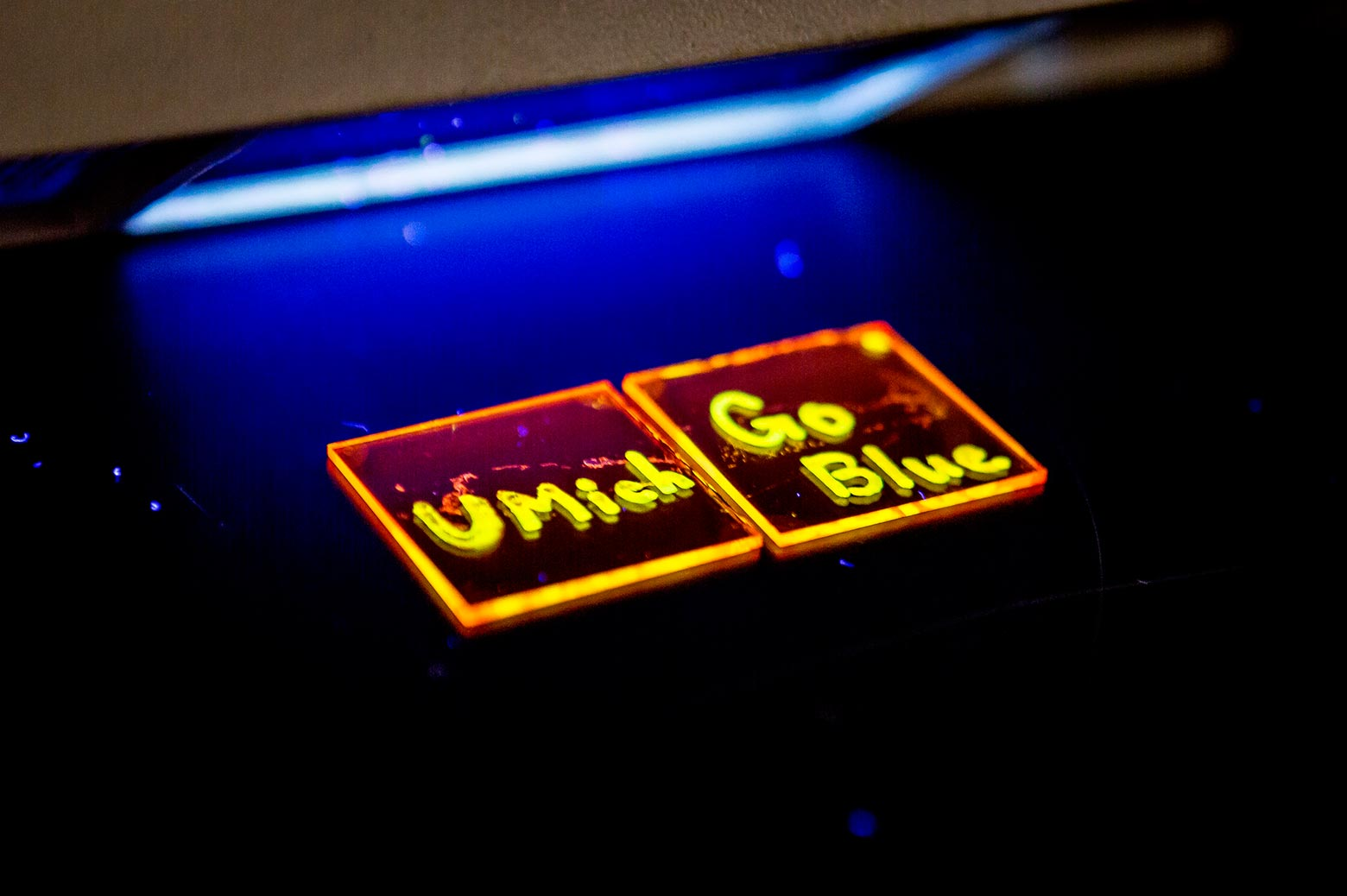 Glow in the dark liquid reads UMICH and Go Blue