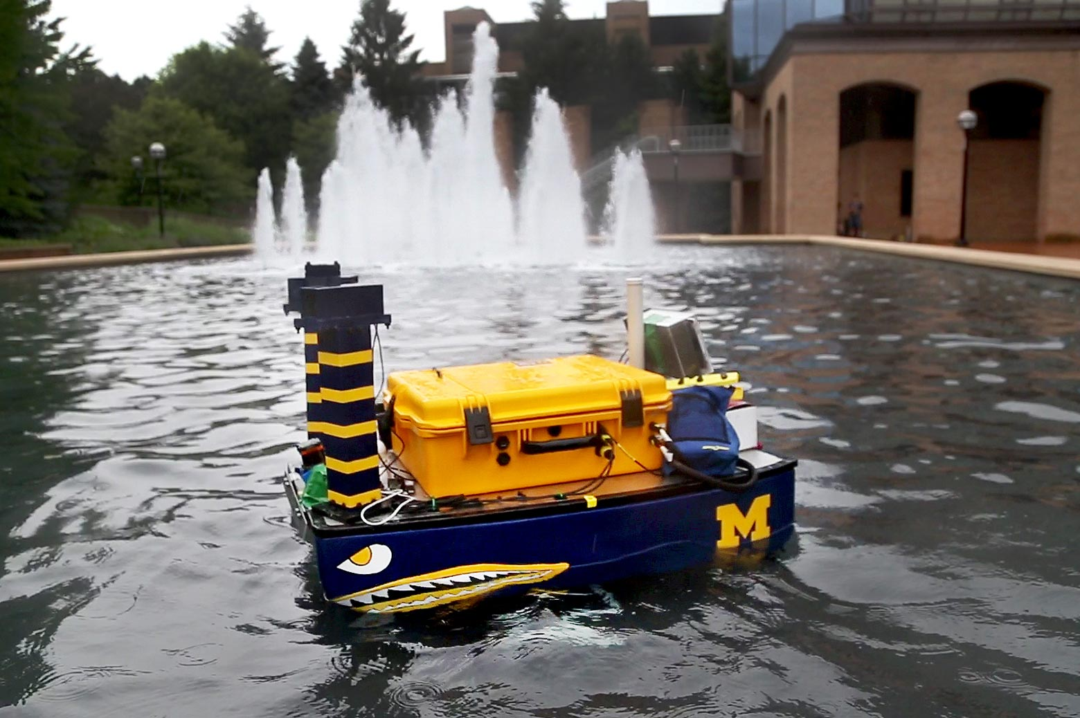 Autonomous boat in water
