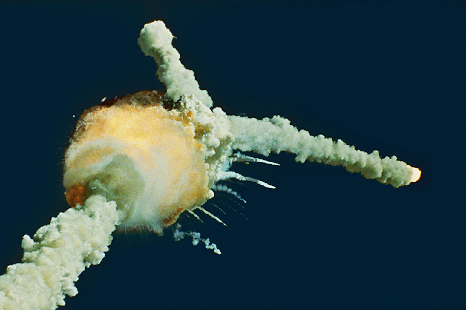The explosion of the space shuttle, Challenger, in 1986/