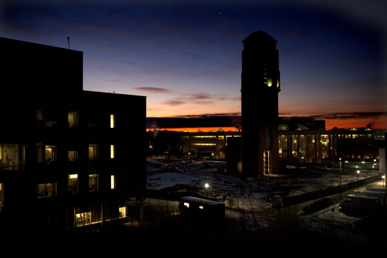 A photograph of the beginning of dawn on North Campus.