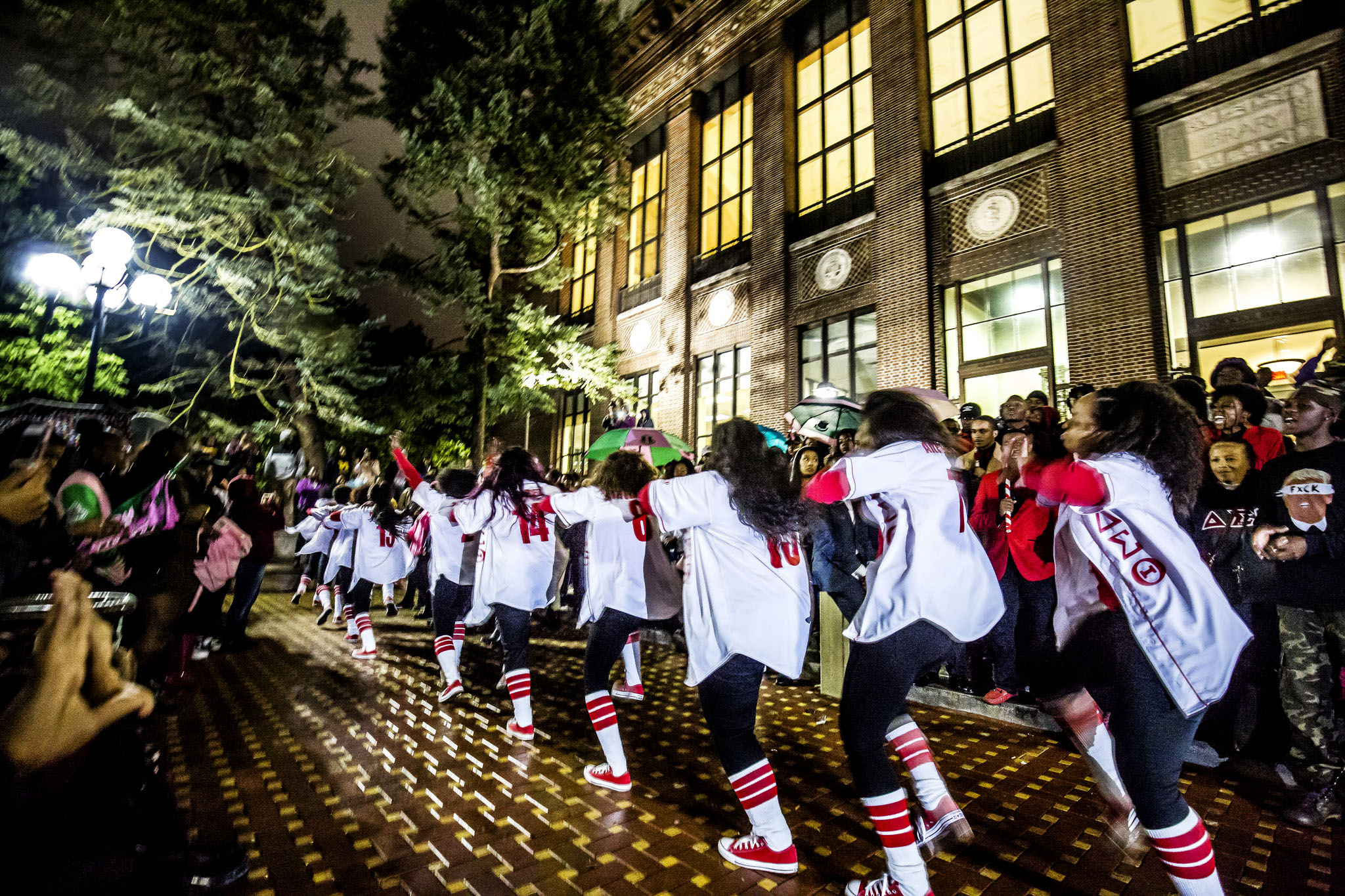 A photograph of a step performance on the Central Campus Diag.