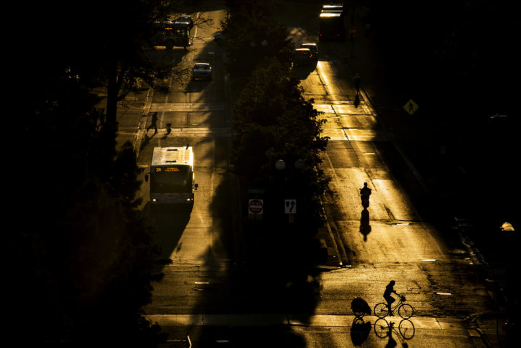 A photograph of North University Ave. in the morning.