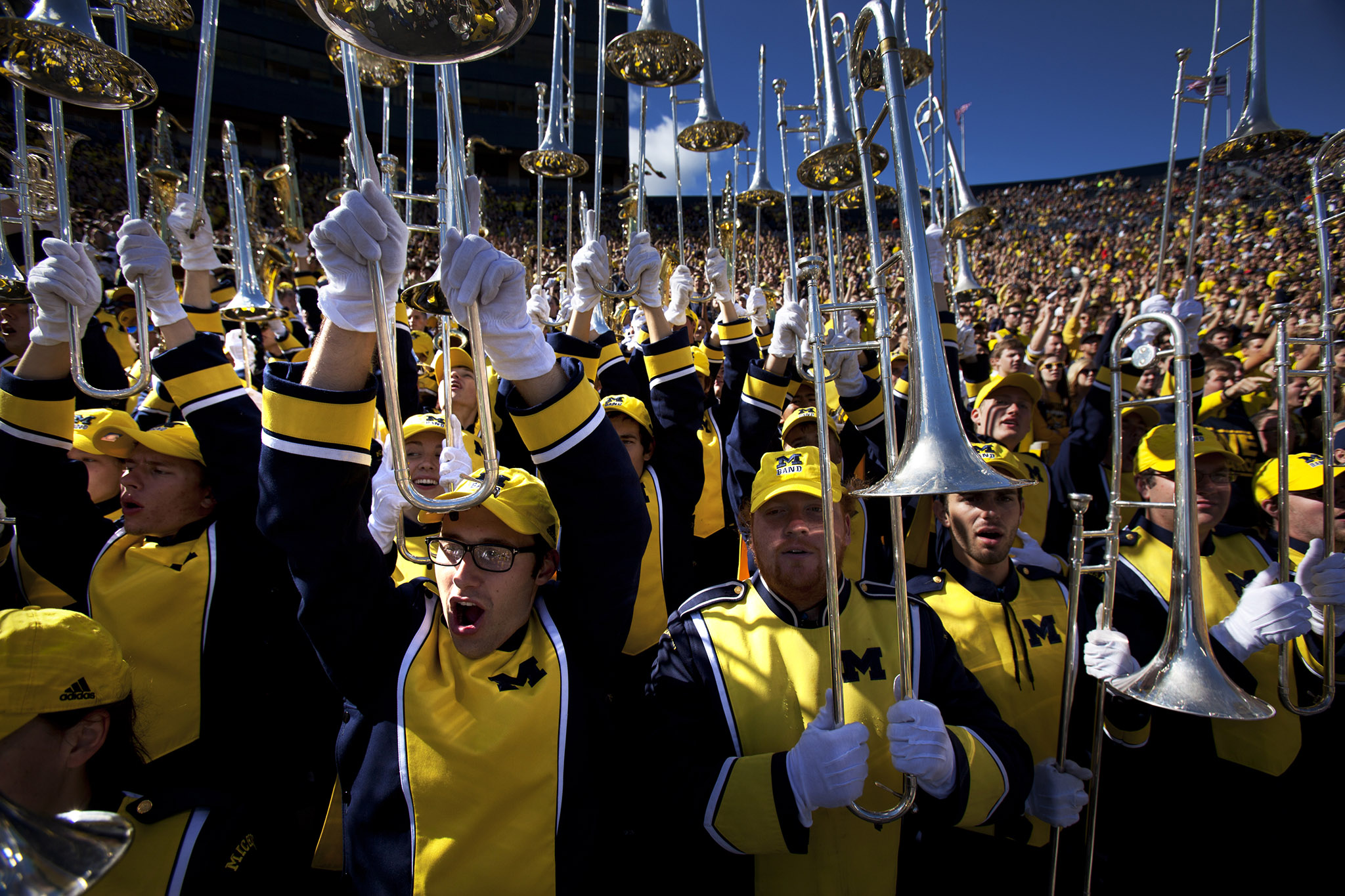 A photograph of the Michigan Marching Band.