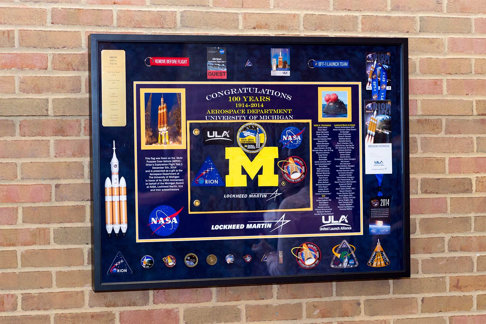 The UM flag that went to space aboard Orion.