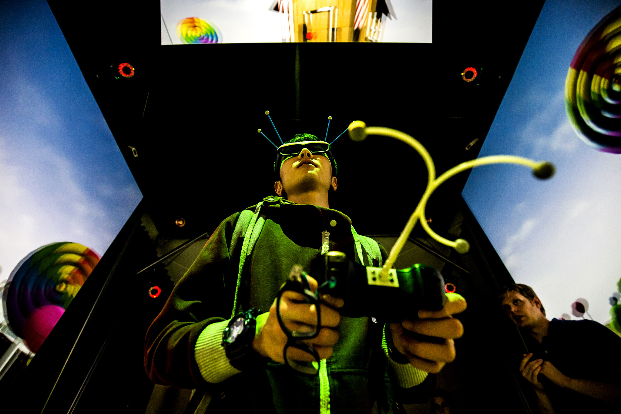 A photograph of a student using a virtual reality engine.