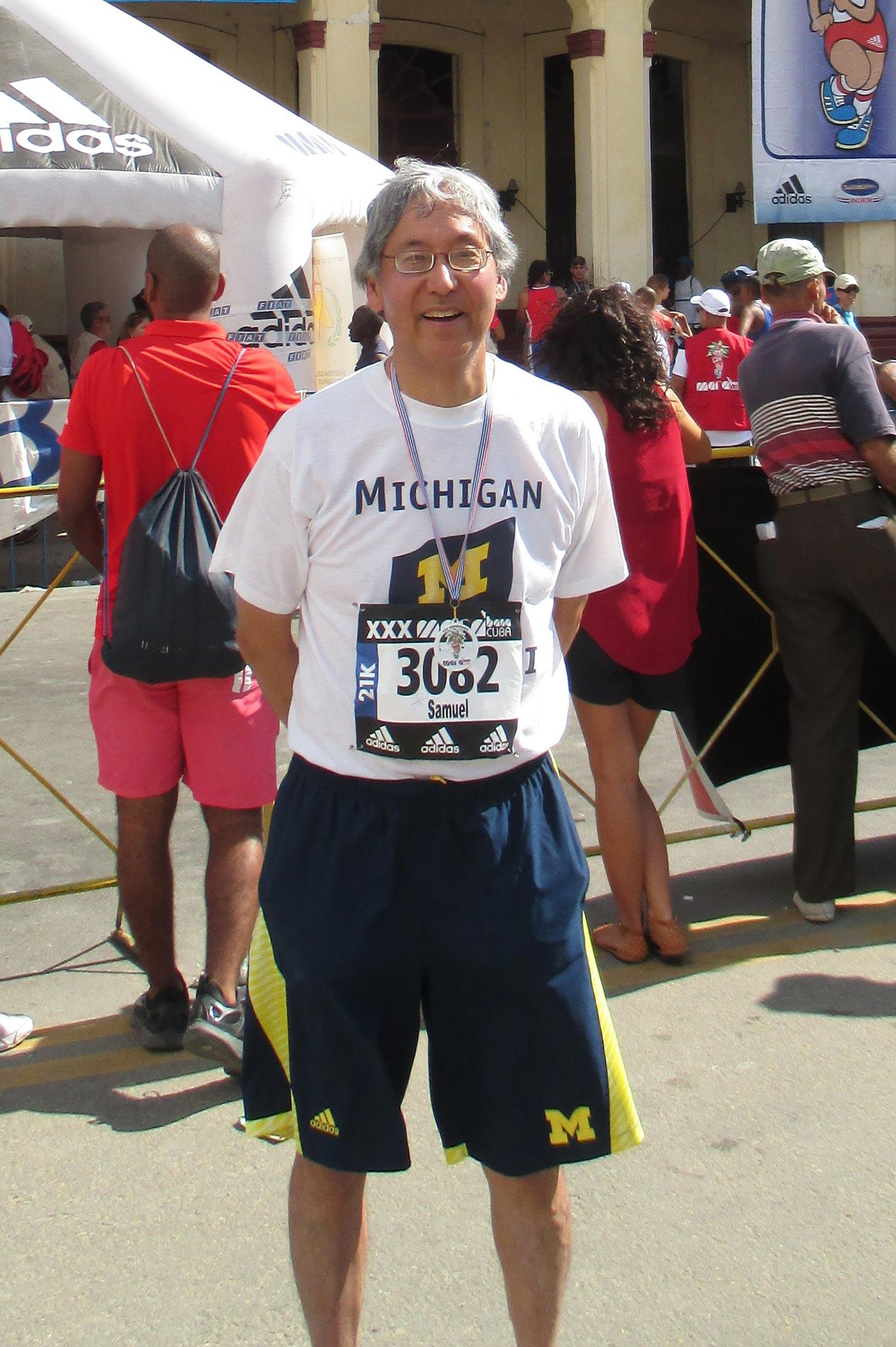 Samuel Nakamura at a half marathon in Havana, Cuba in November 2016