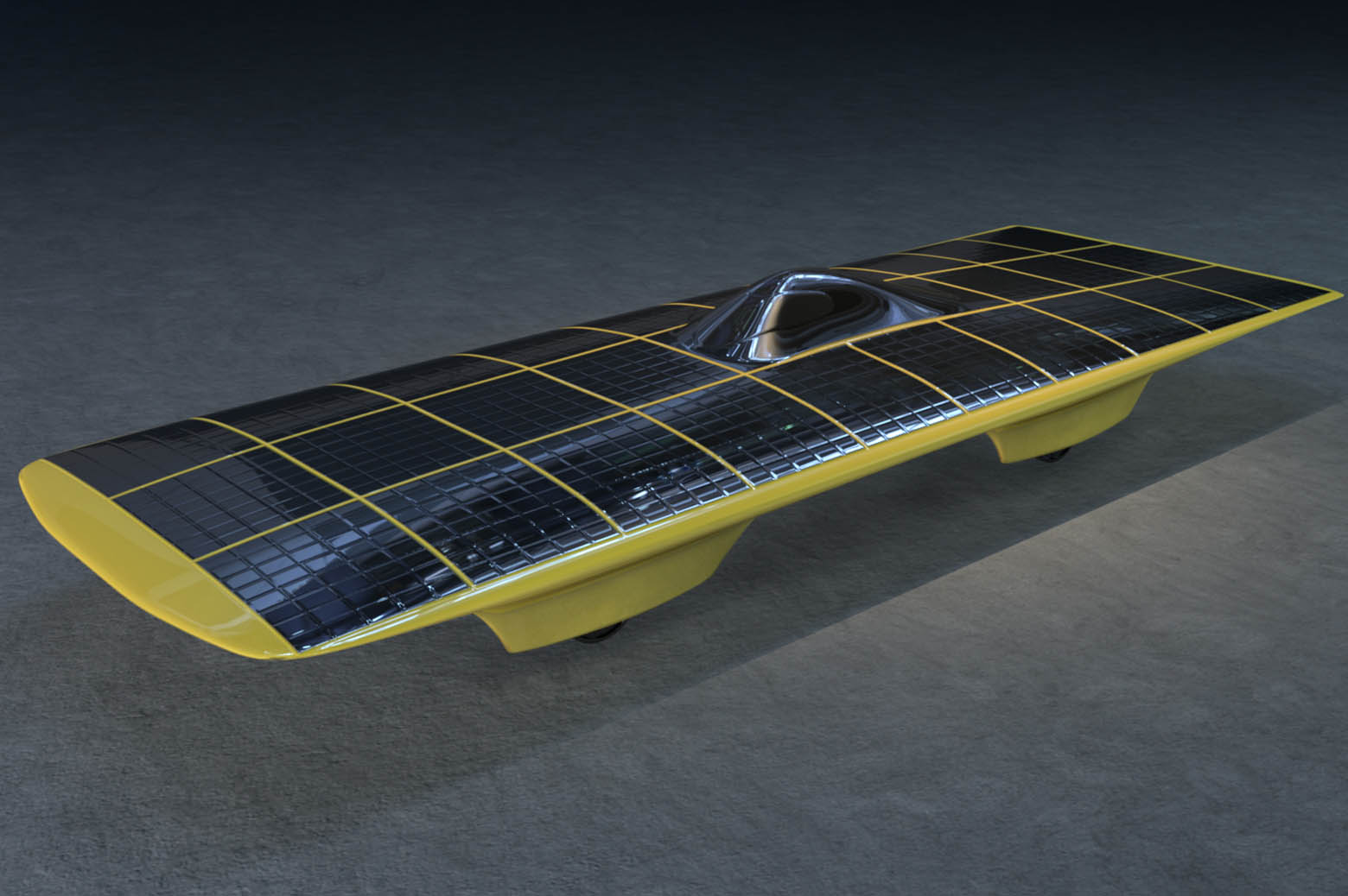 Illustration of solar car, M-Pulse.