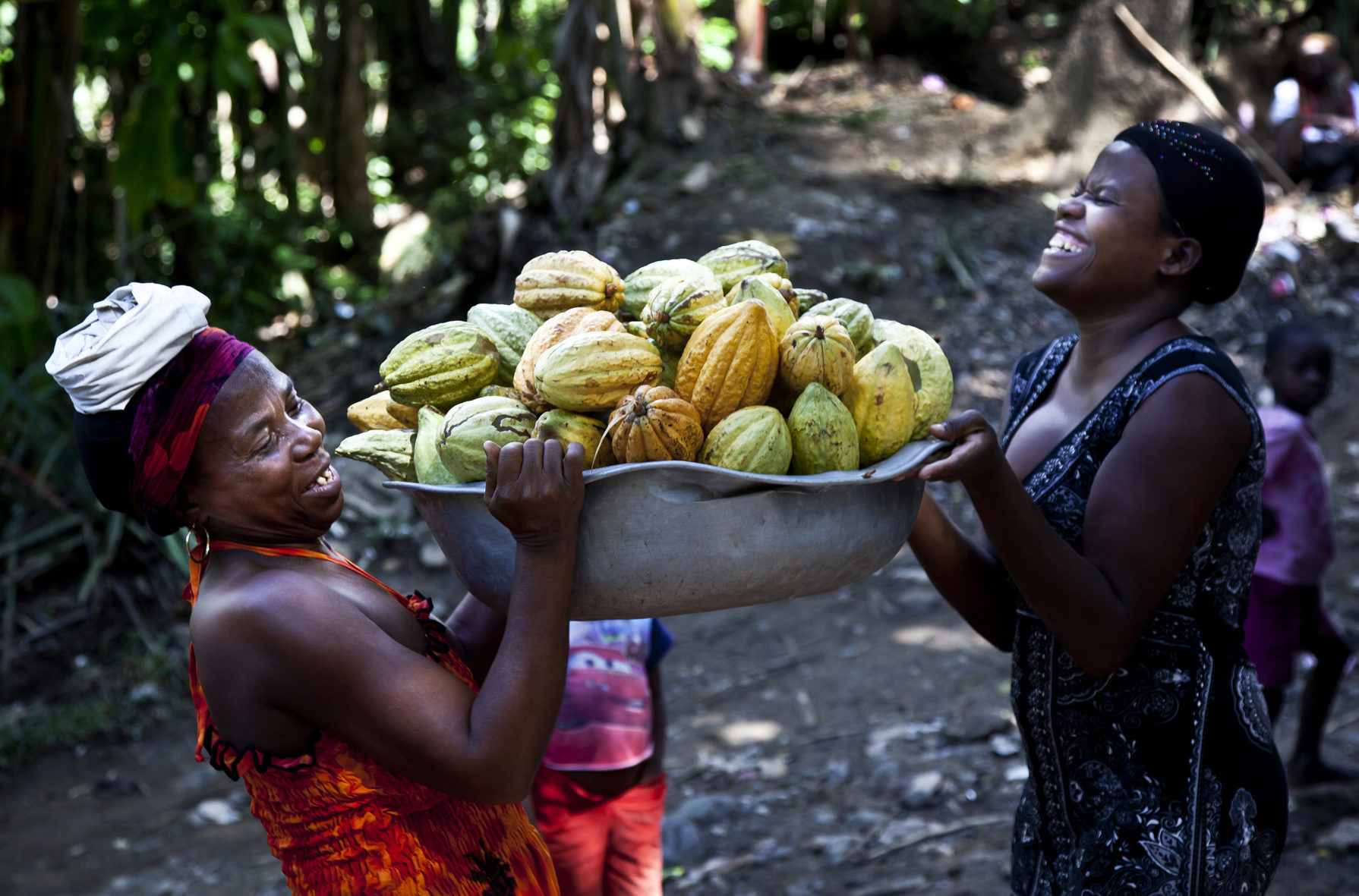 A photograph of people holding cocoa pods in Haiti.