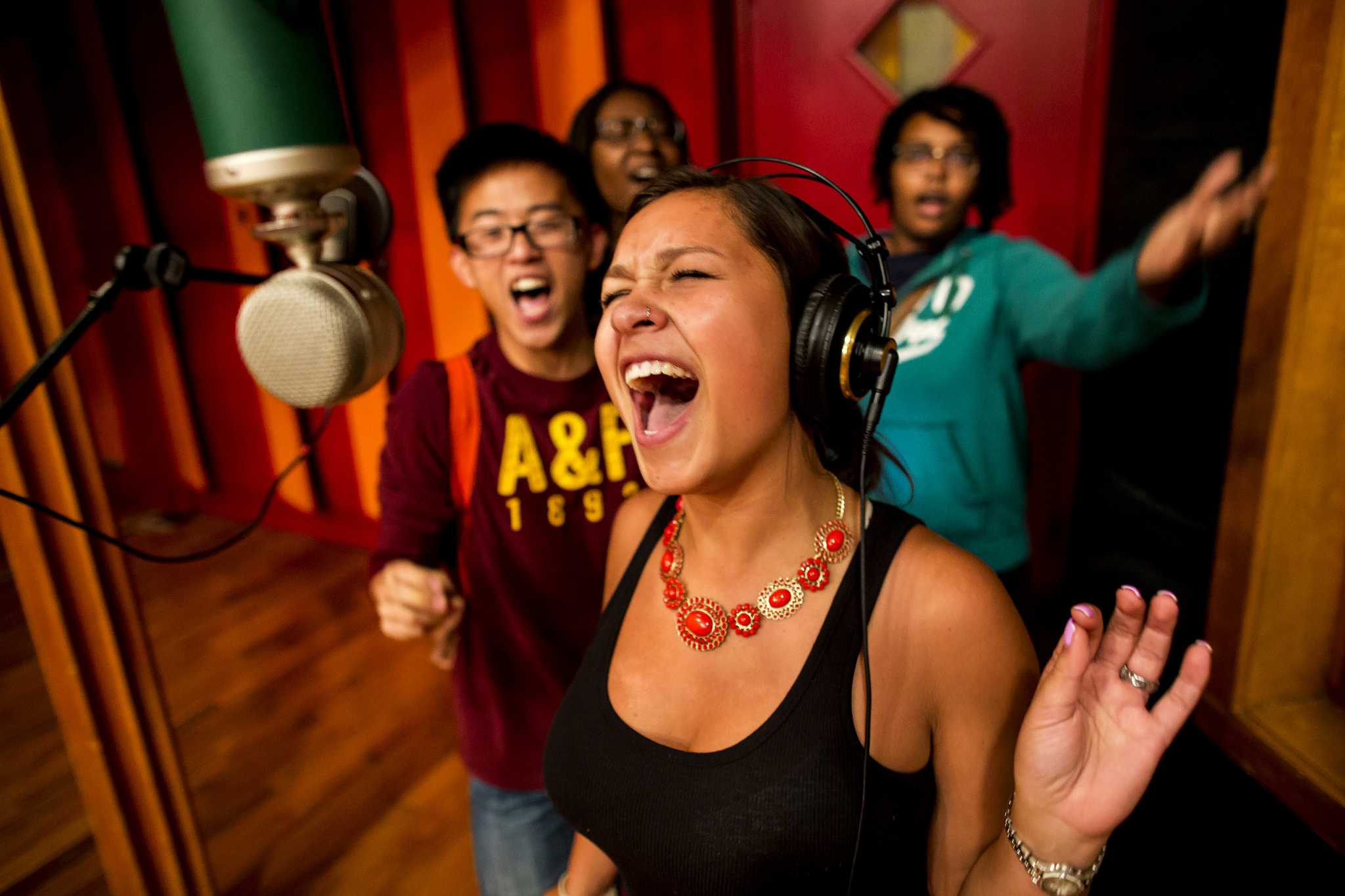 A photograph of students recording at United Sound in Detroit, MI.