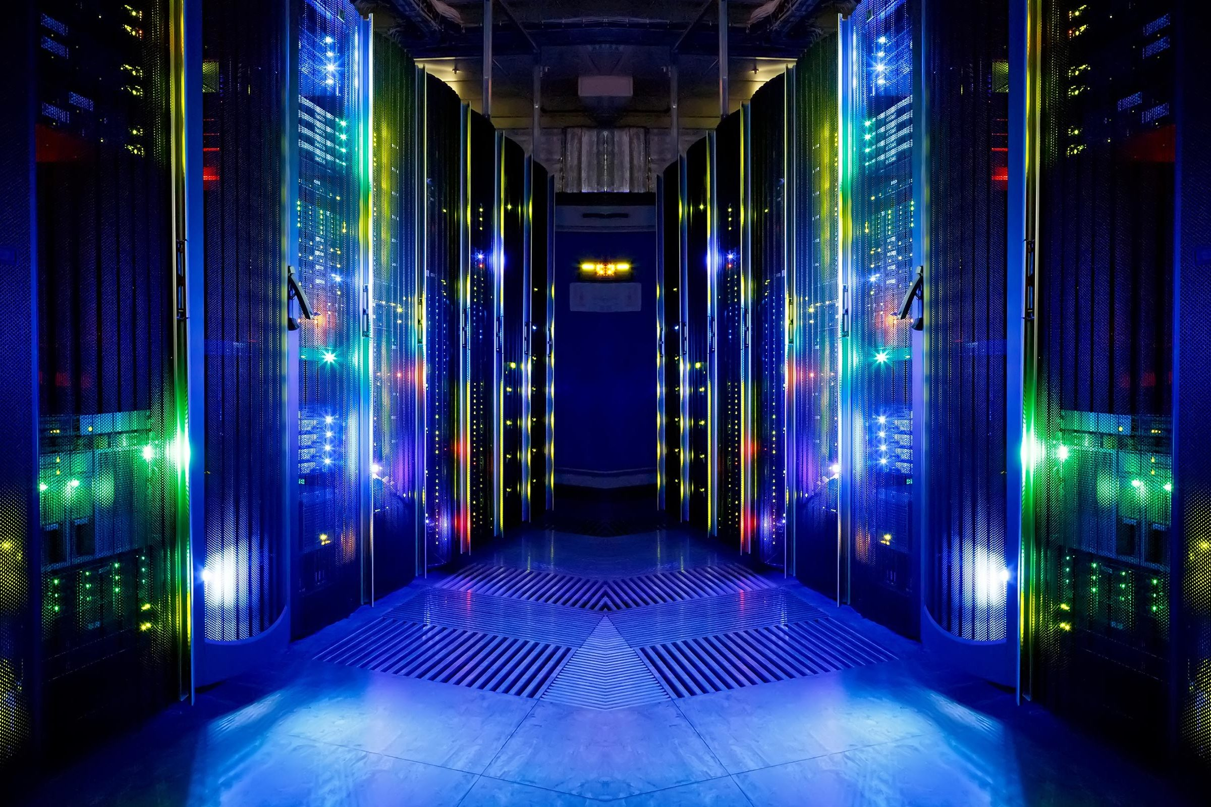 A server room inside a data center.