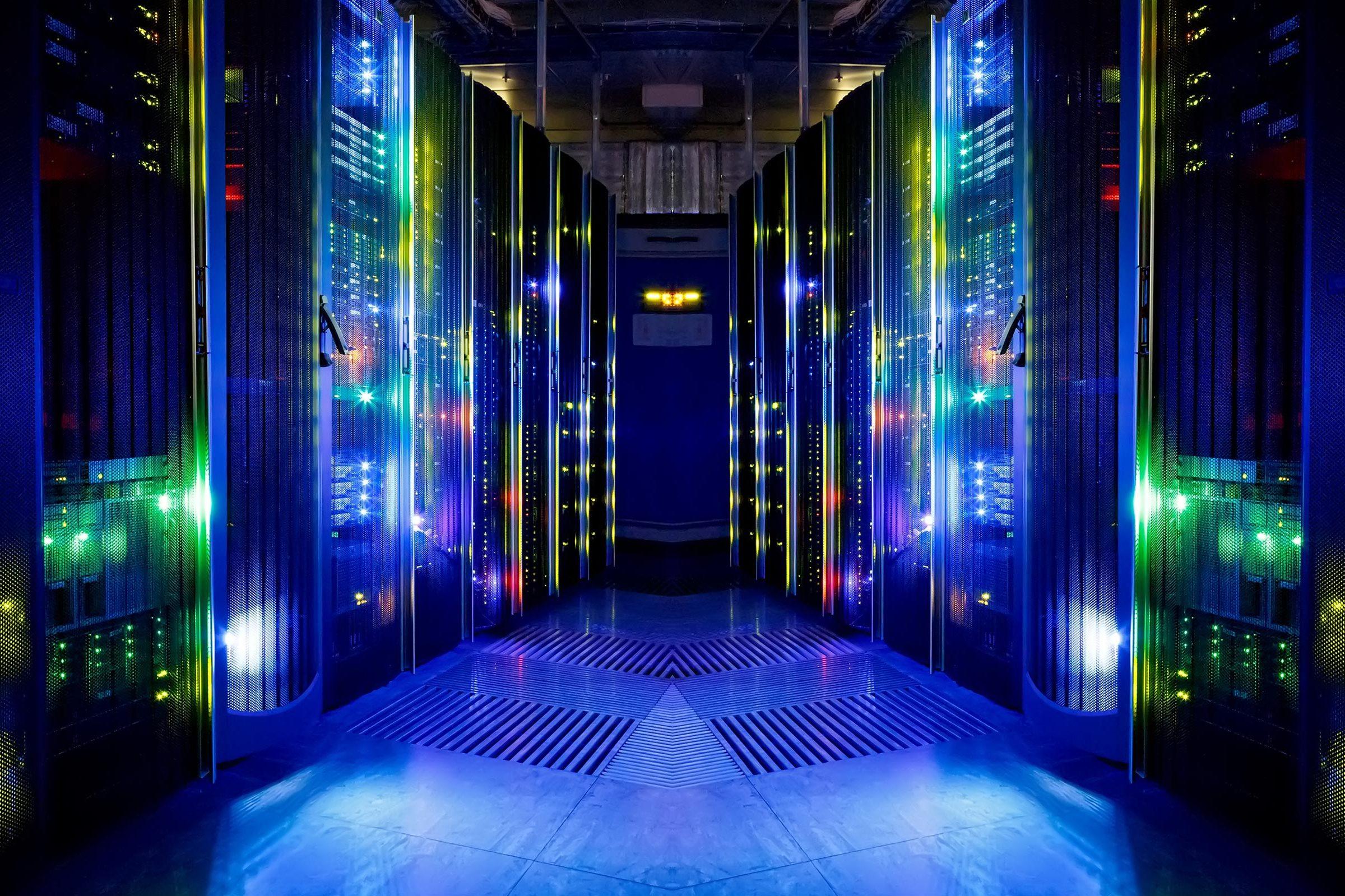 A server room inside a data center.
