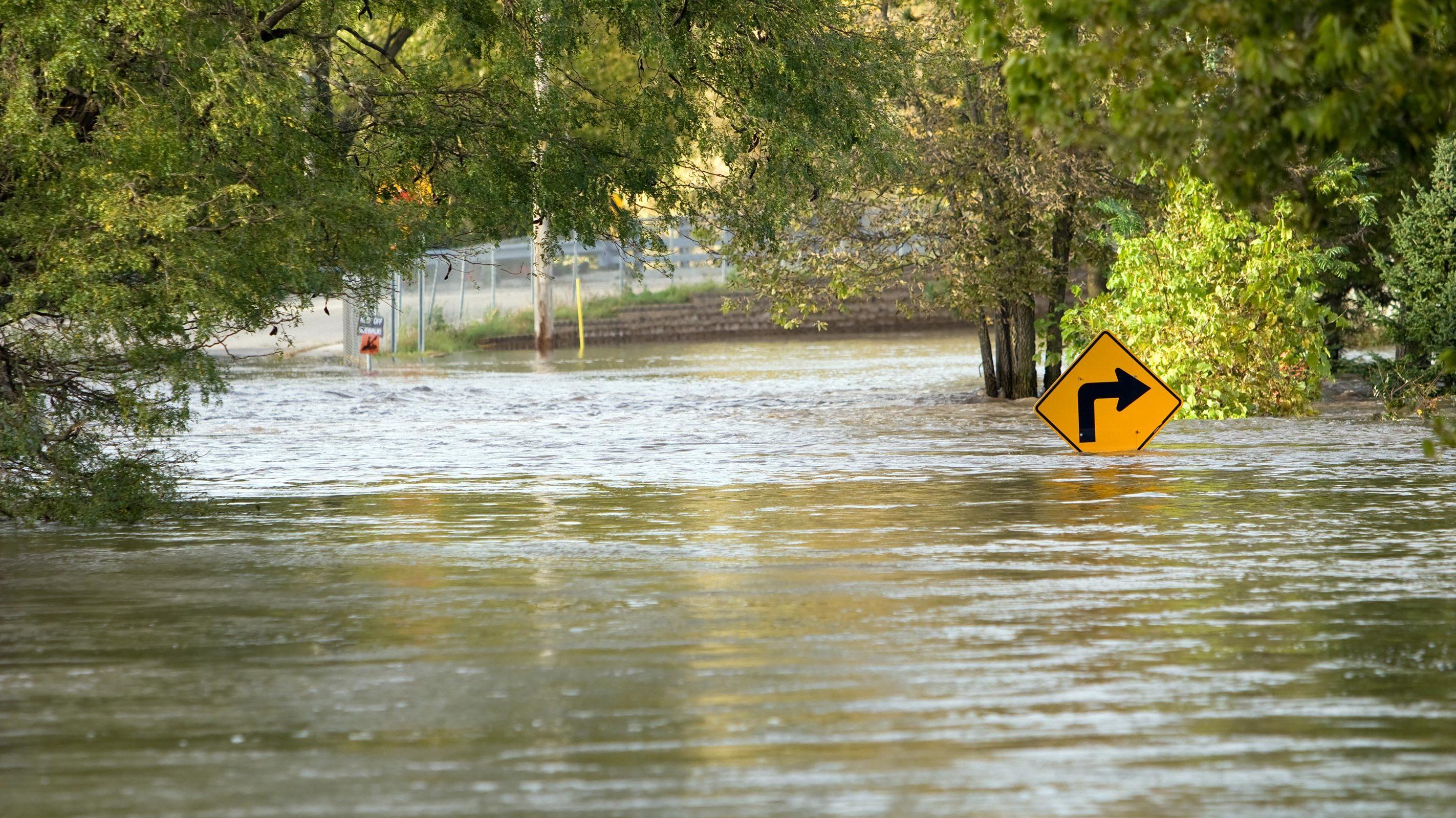 A river floods over a city street.