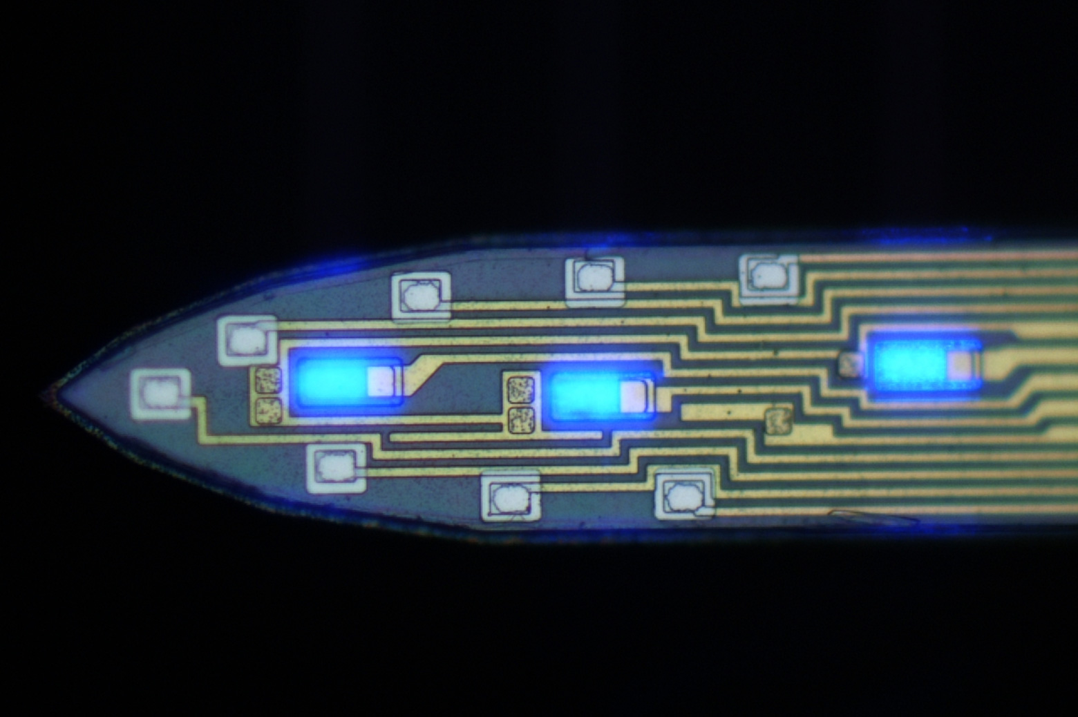 microcircuitry with blue lights and electrodes