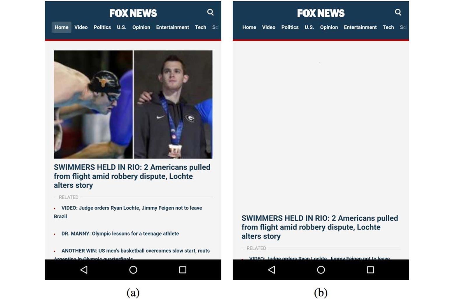 Screengrab of mobile webpage loading