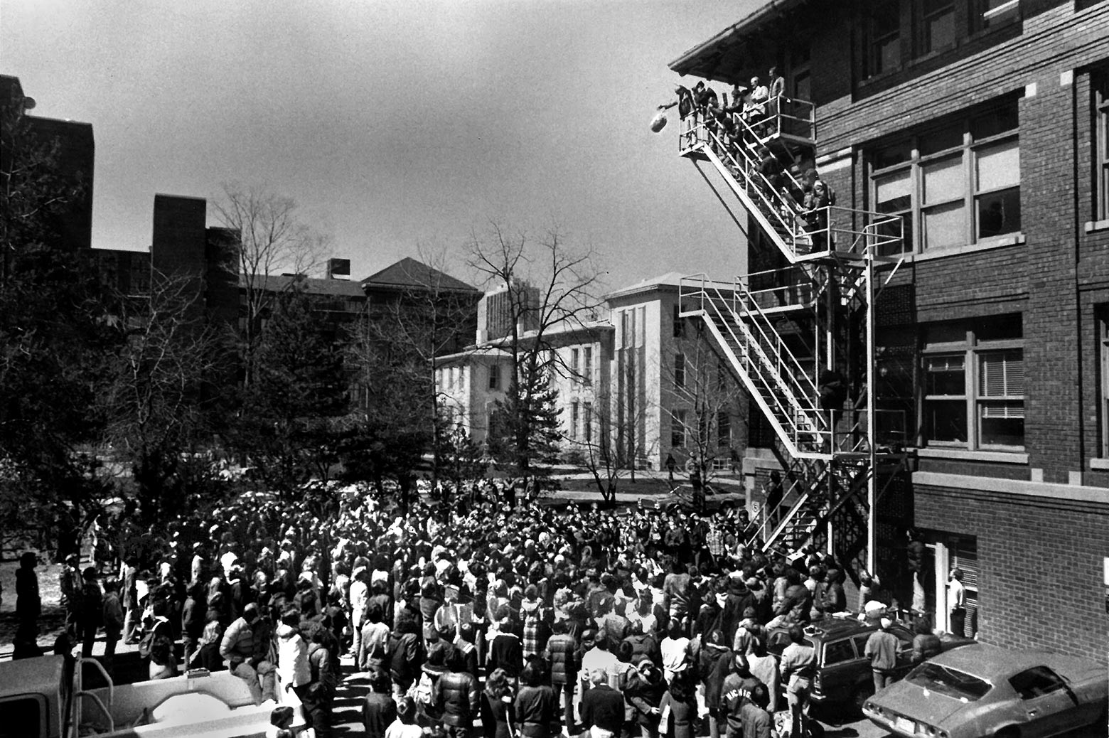 A crowd watches the first egg drop competition
