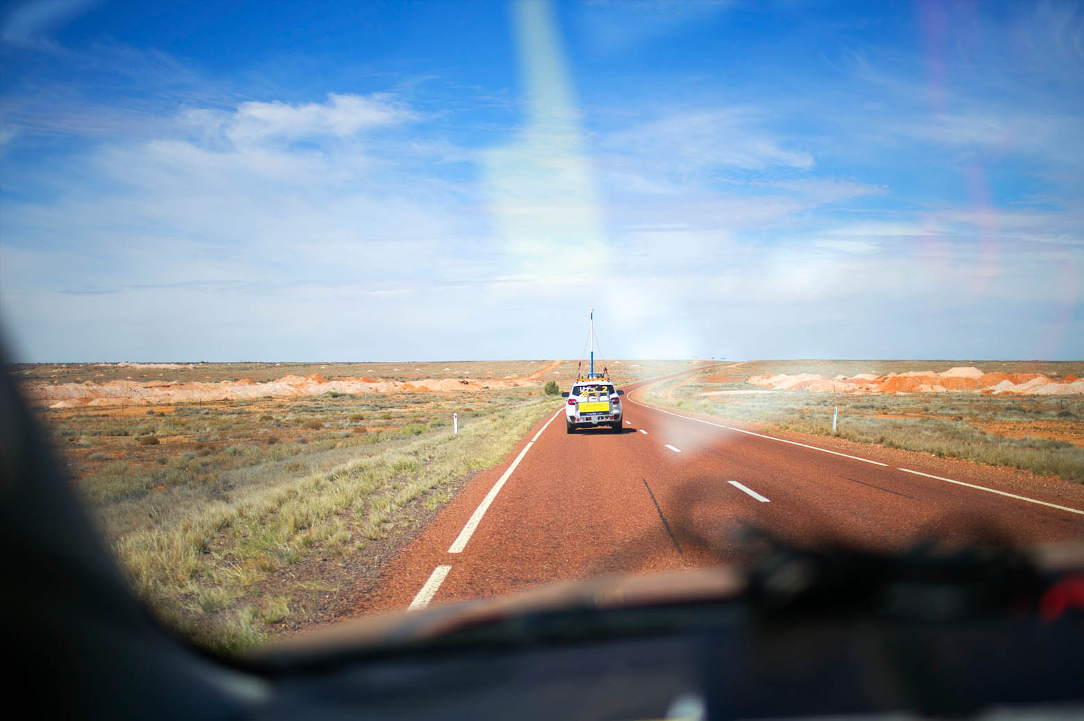 Looking out the window of a moving car in the Outback.