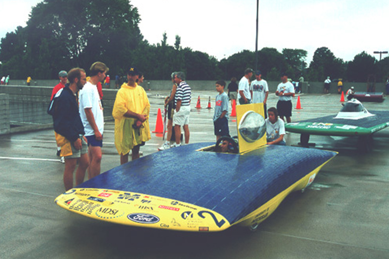 Solar car parked in the rain.