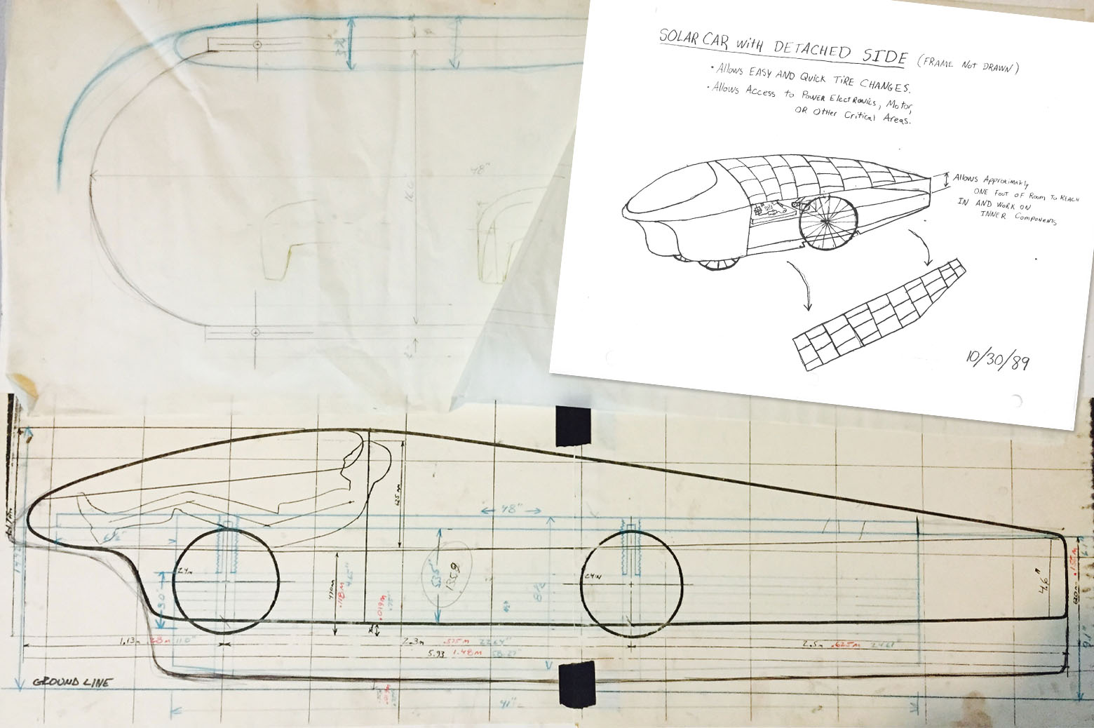 Schematic sketches of the first solar car.