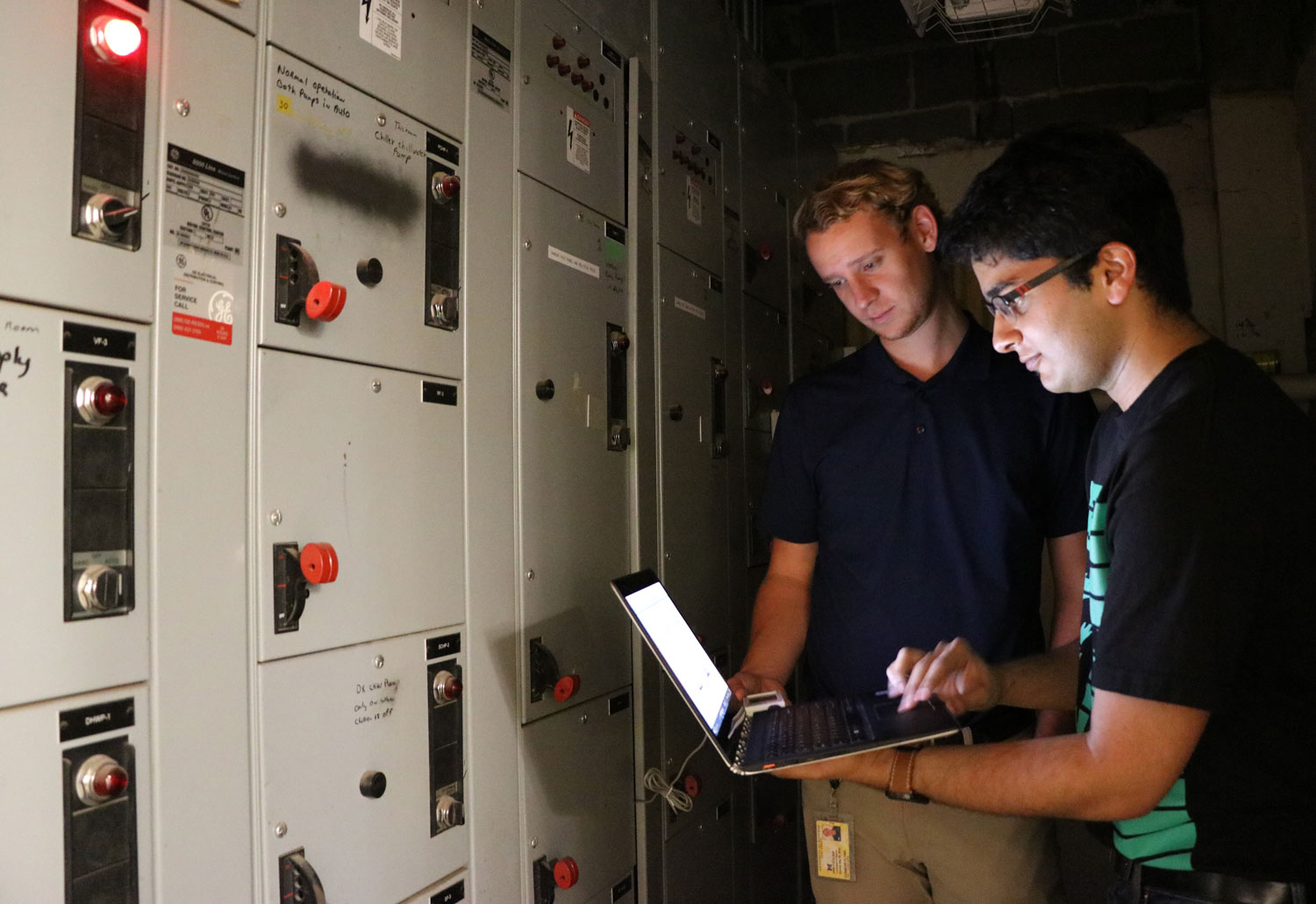 Connor Flynn and Aditya Keskar retrieve data