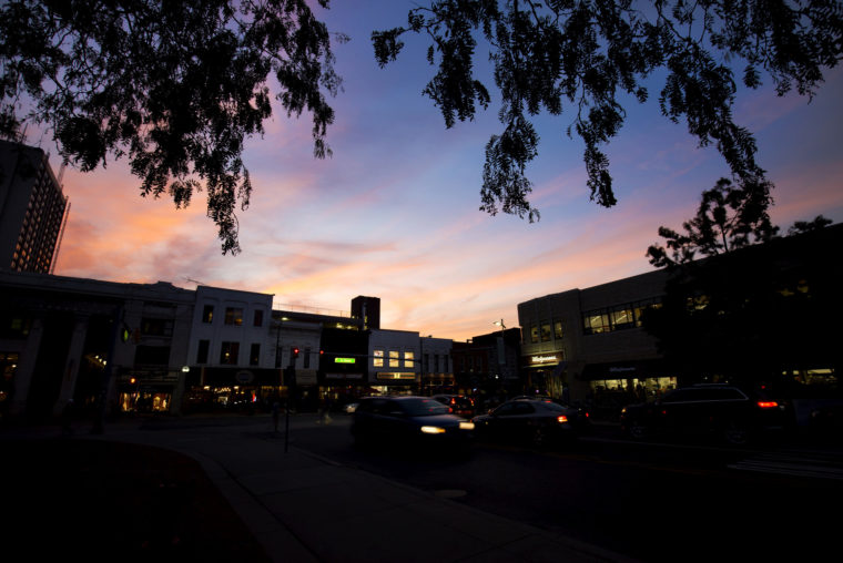 A photograph of dusk on central campus.