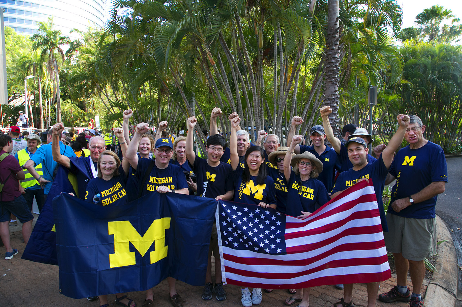 Michigan fans and alumni show support at the starting line.