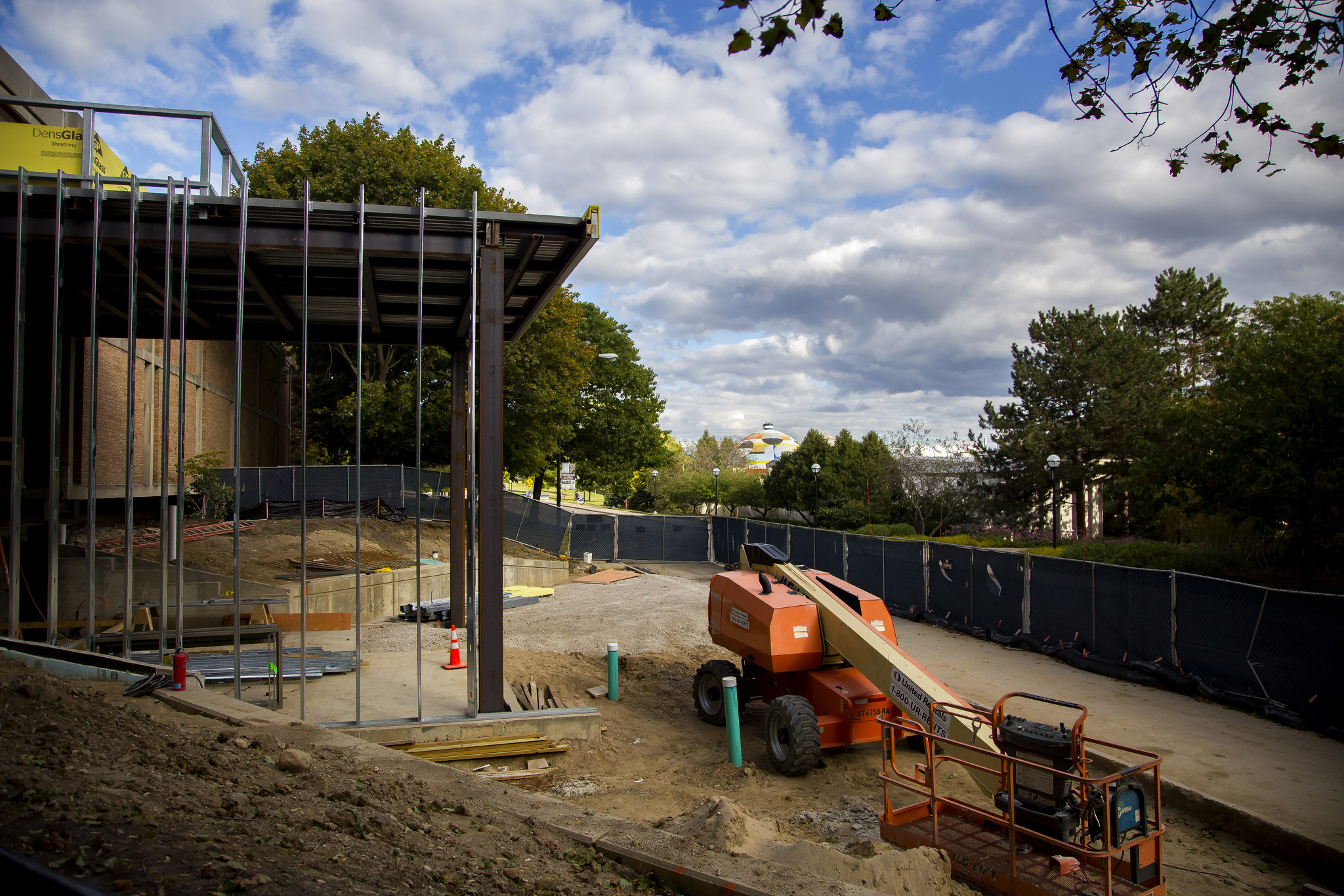 A photograph of renovations of the Space Research Building.