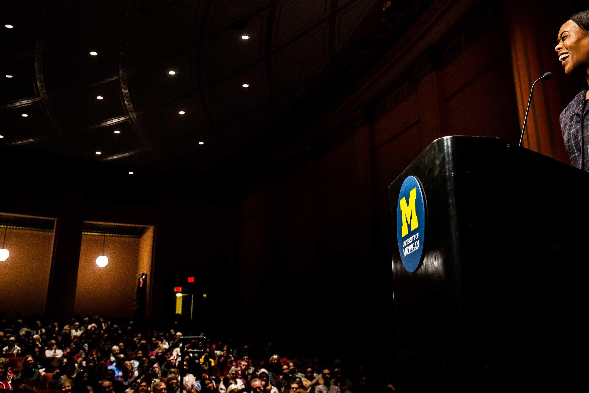 Shetterly speaking to a full house at Rackham Auditorium