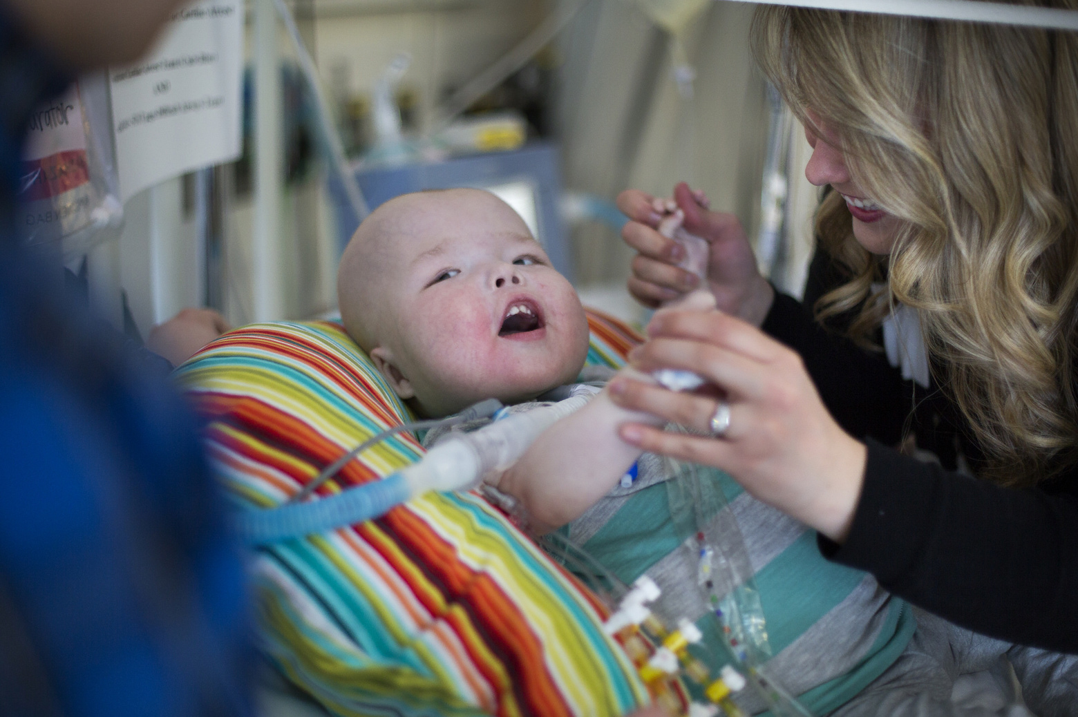 Natalie Peterson spends time with her son, Garrett, at Mott's Children Hospital in Ann Arbor, MI on March 4, 2014.