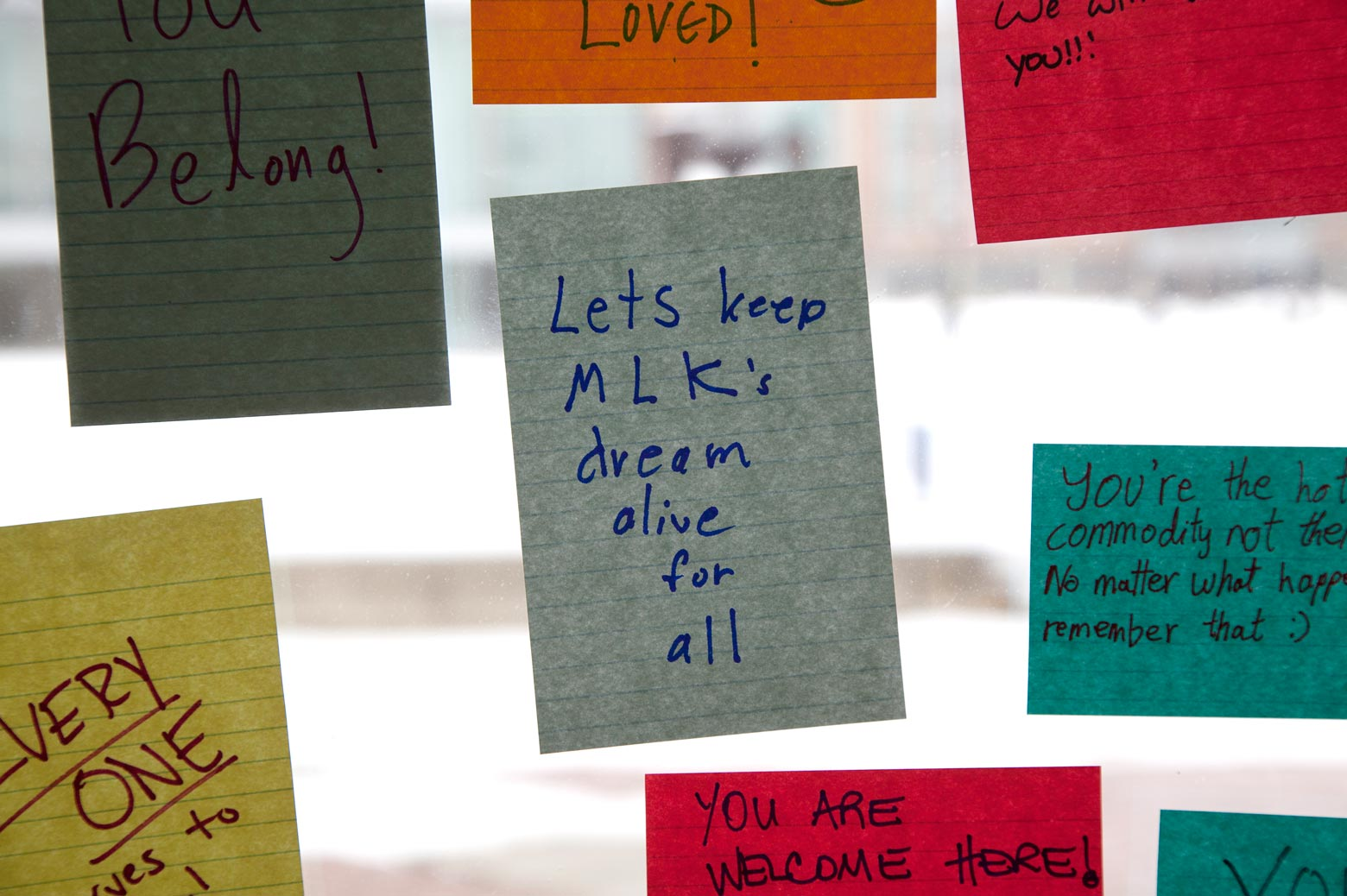 Post it messages of encouragement on a window