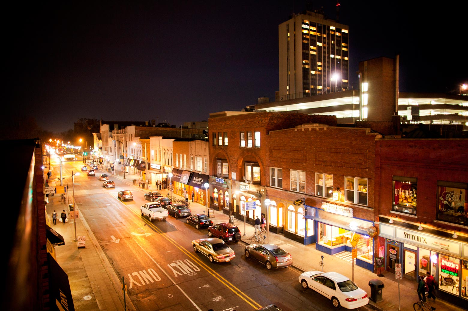 Street view of U-M central campus at night