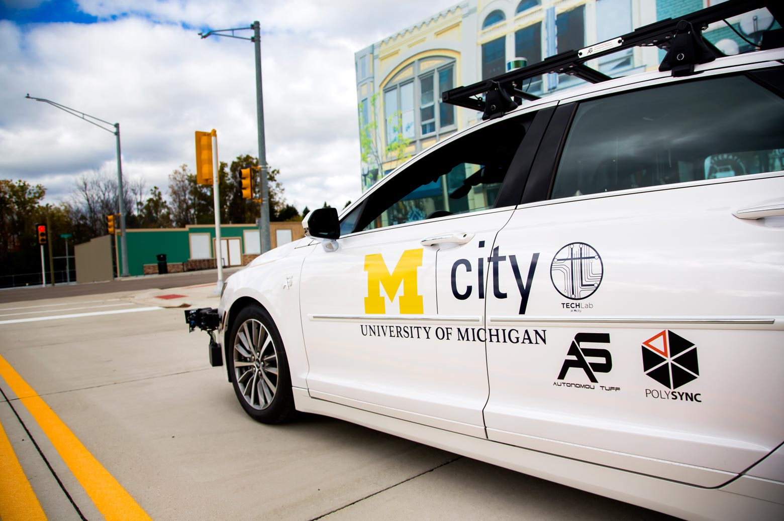 An autonomous vehicle on the road