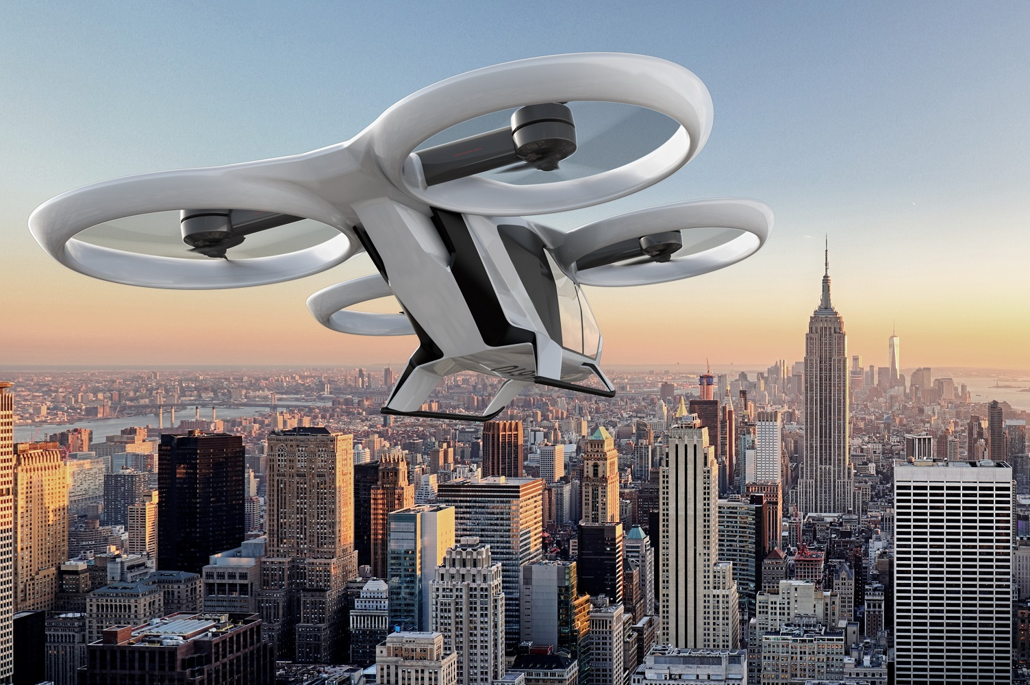 concept art of a drone flying over New York City