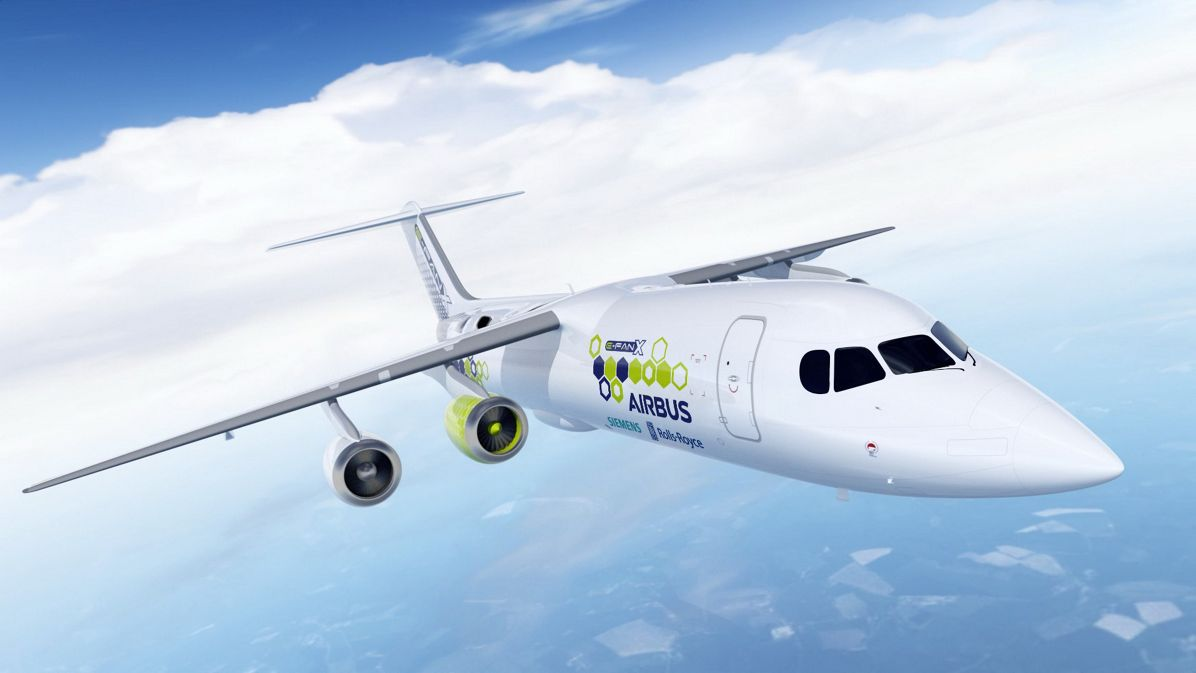 concept art of Airbus' E-Fan X aircraft