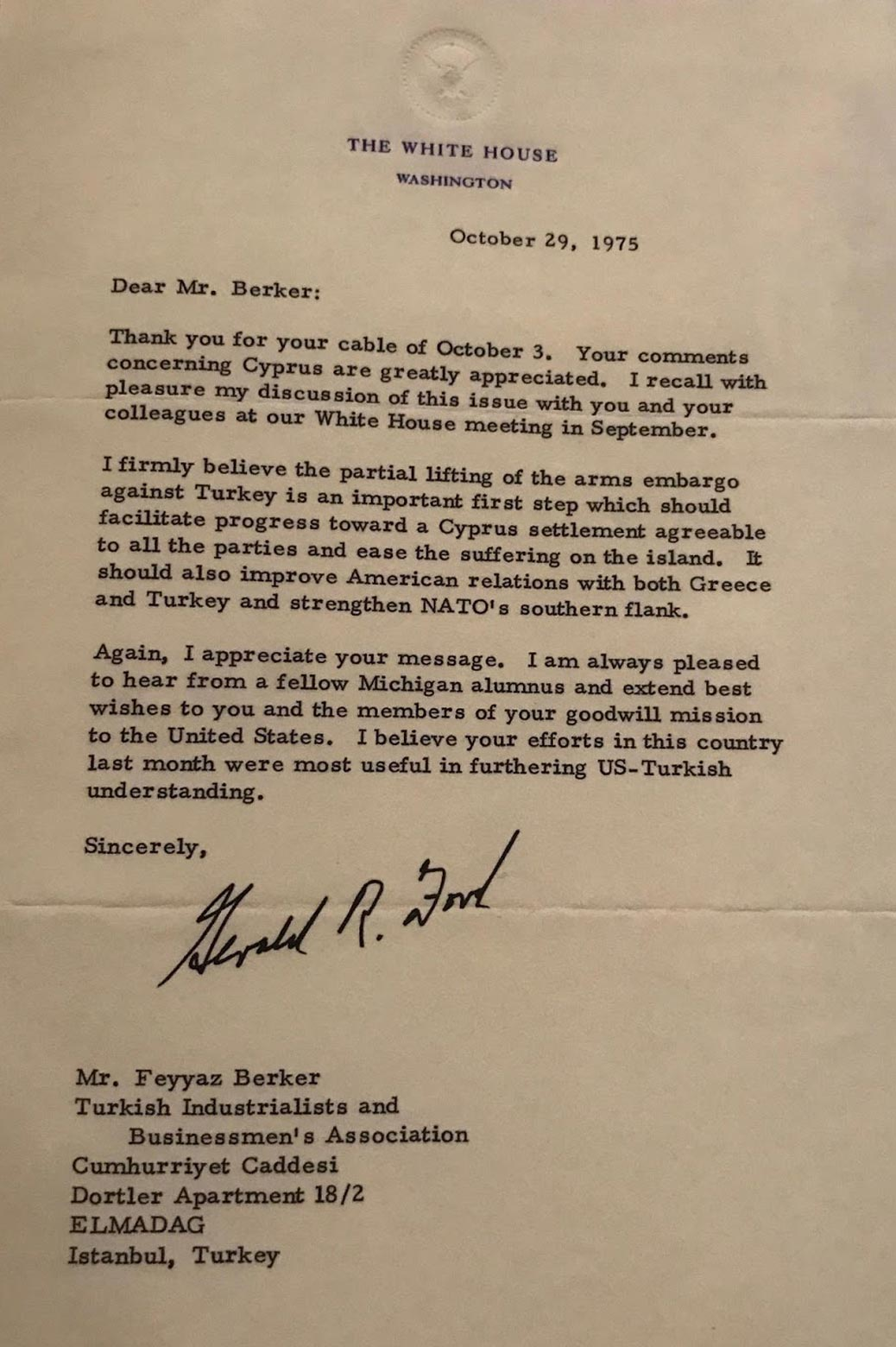 a photo of a letter sent to Feyyaz Berker