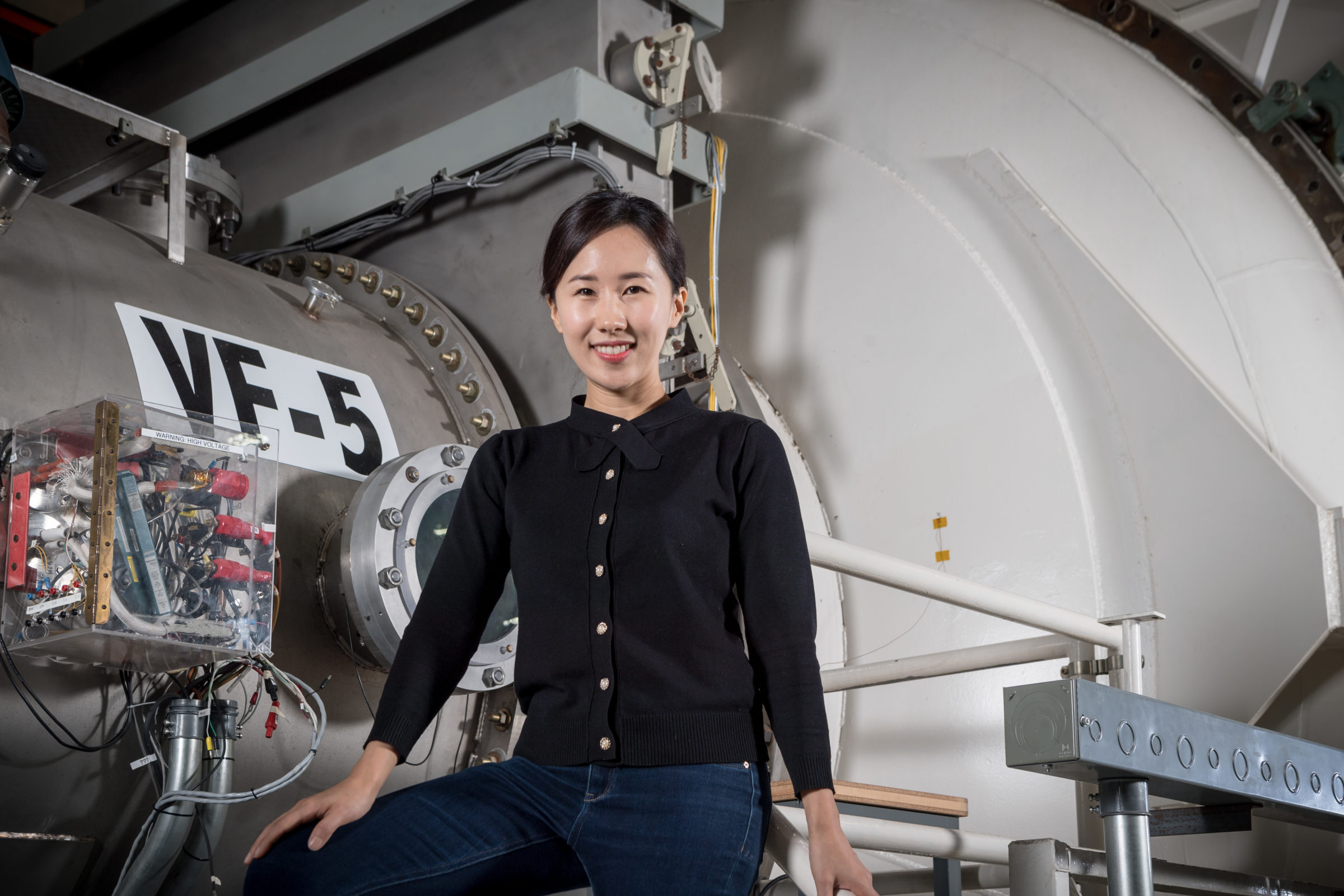 Dr. Maria Choi in Hall thruster testing facility