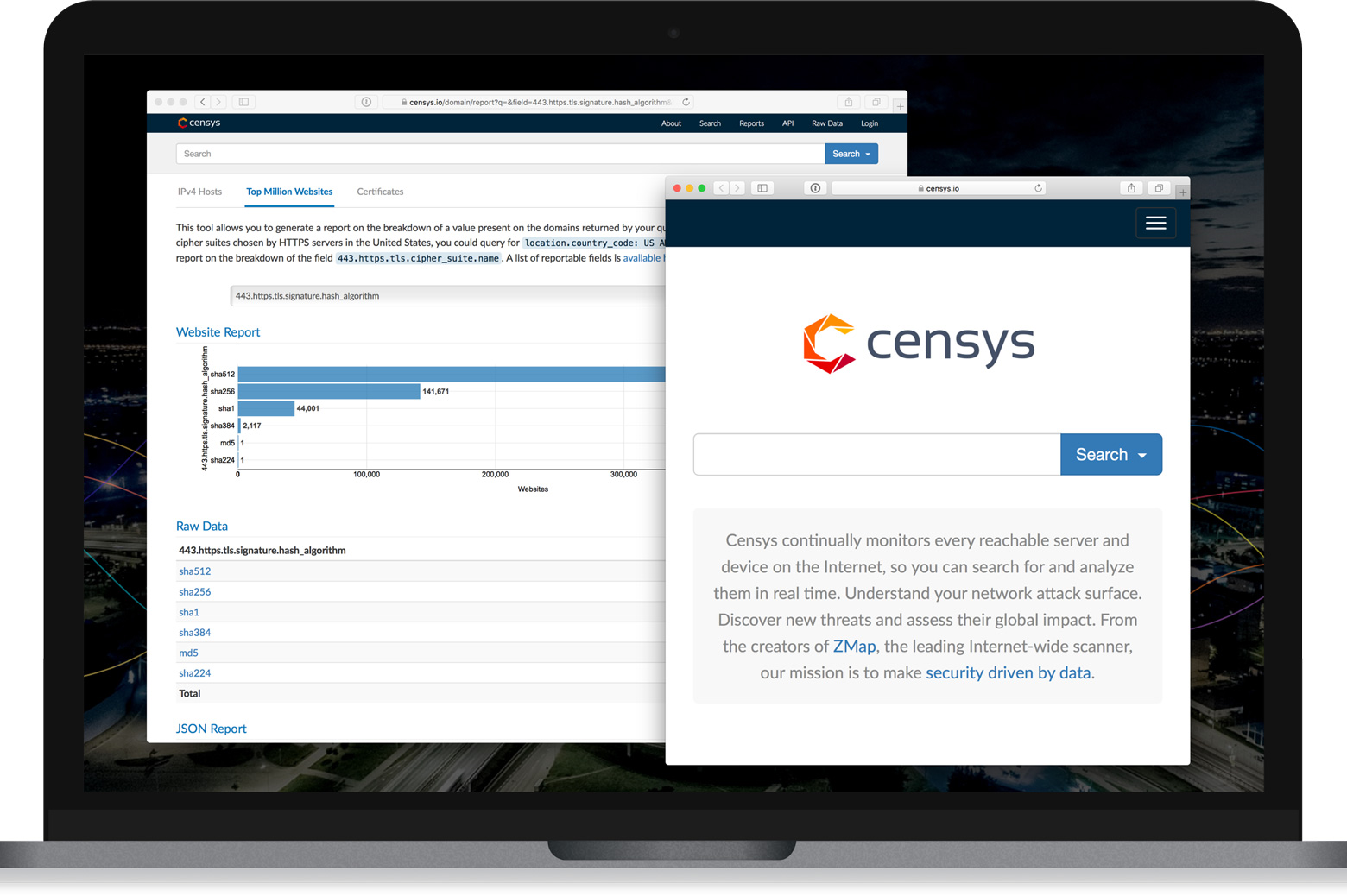 Screenshots of the Censys homepage and of a report generated with the tool