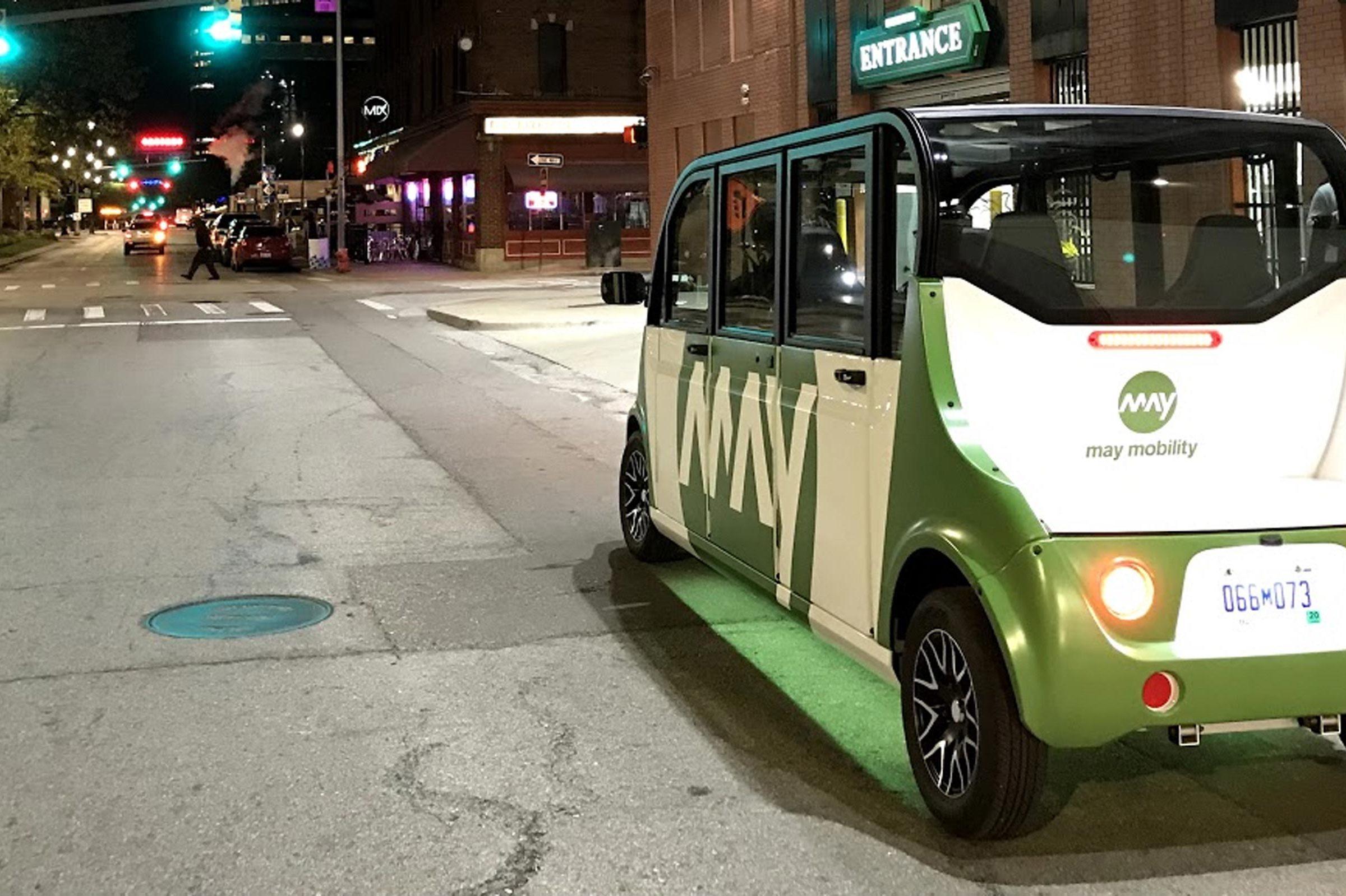 Driverless shuttle in Detroit, Michigan.