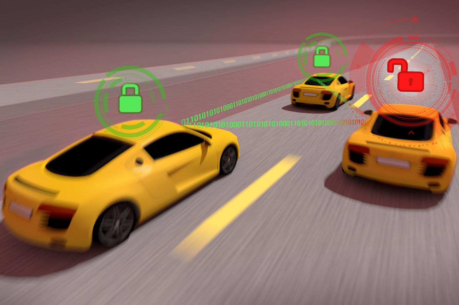 a graphic showing three cars connected through identification tech