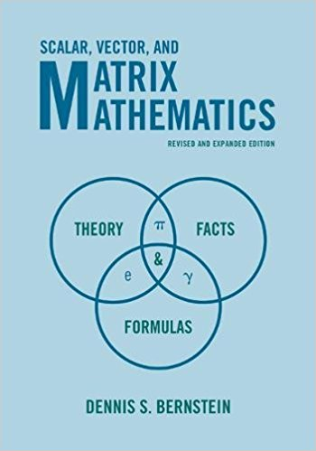 """the cover of """"Scalar, Vector, and Matrix Mathematics: Theory, Facts, and Formulas"""""""